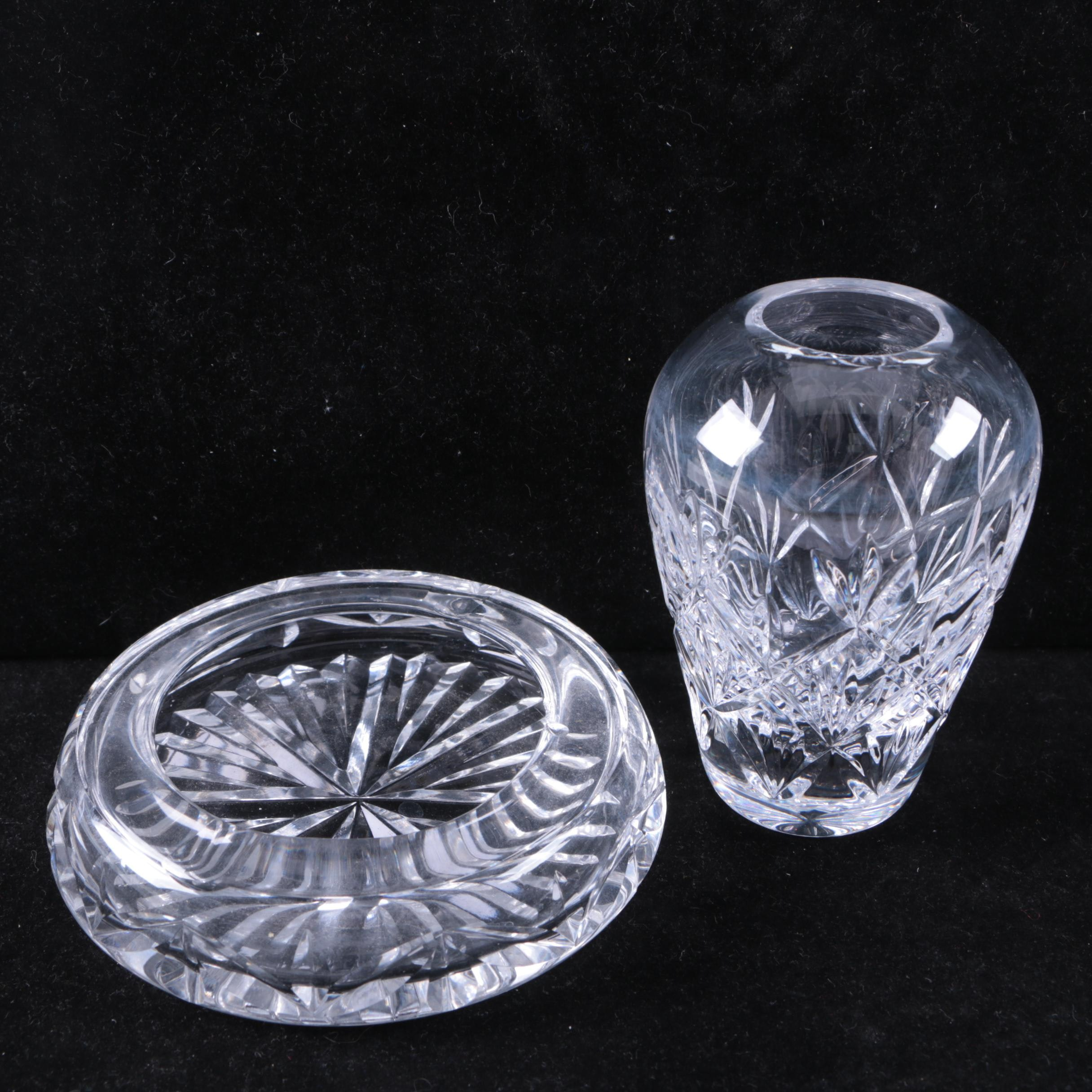 Tiffany & Co. Crystal Vase and Waterford Crystal Ash Receiver