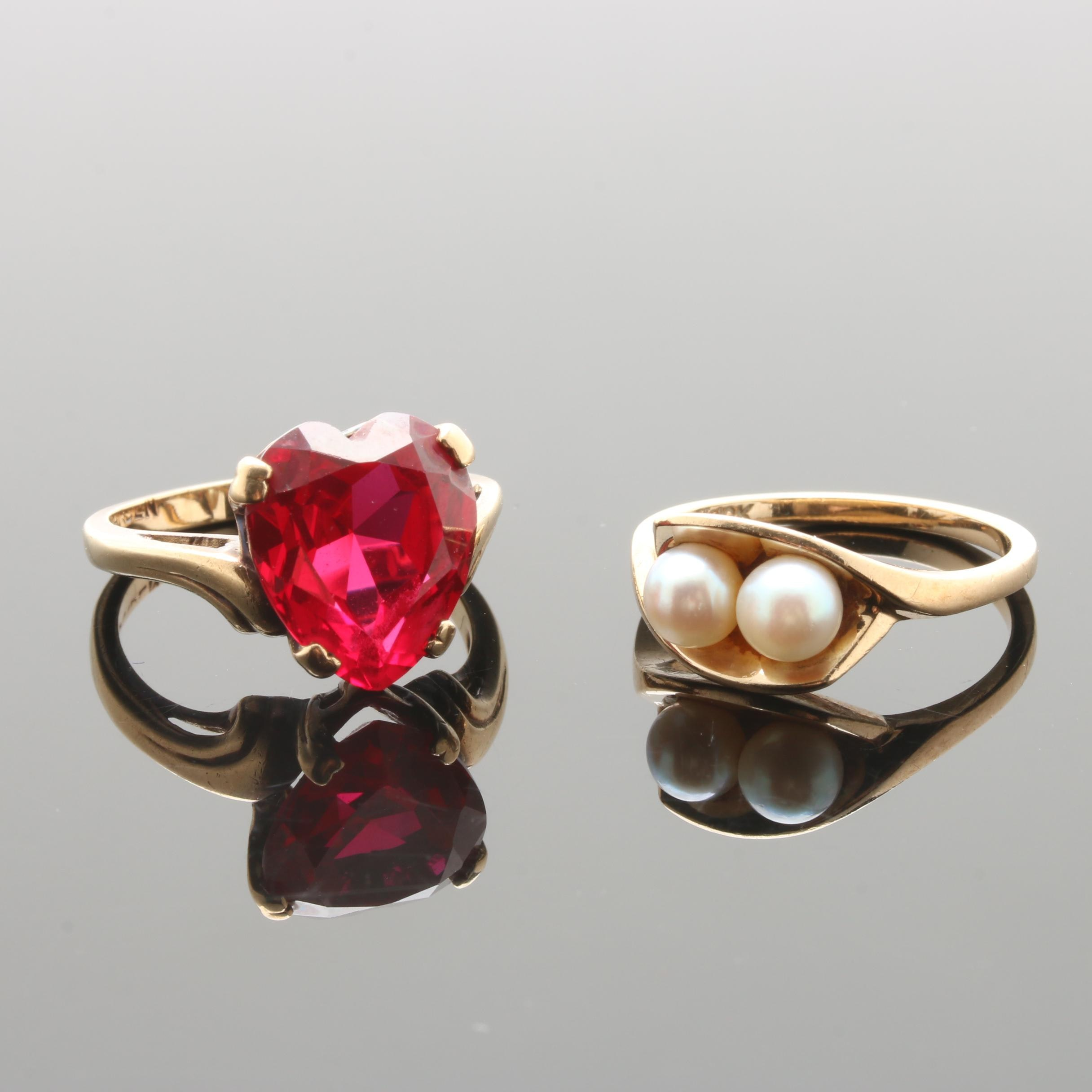 Vintage 10K Yellow Gold Cultured Pearl and Synthetic Ruby Rings