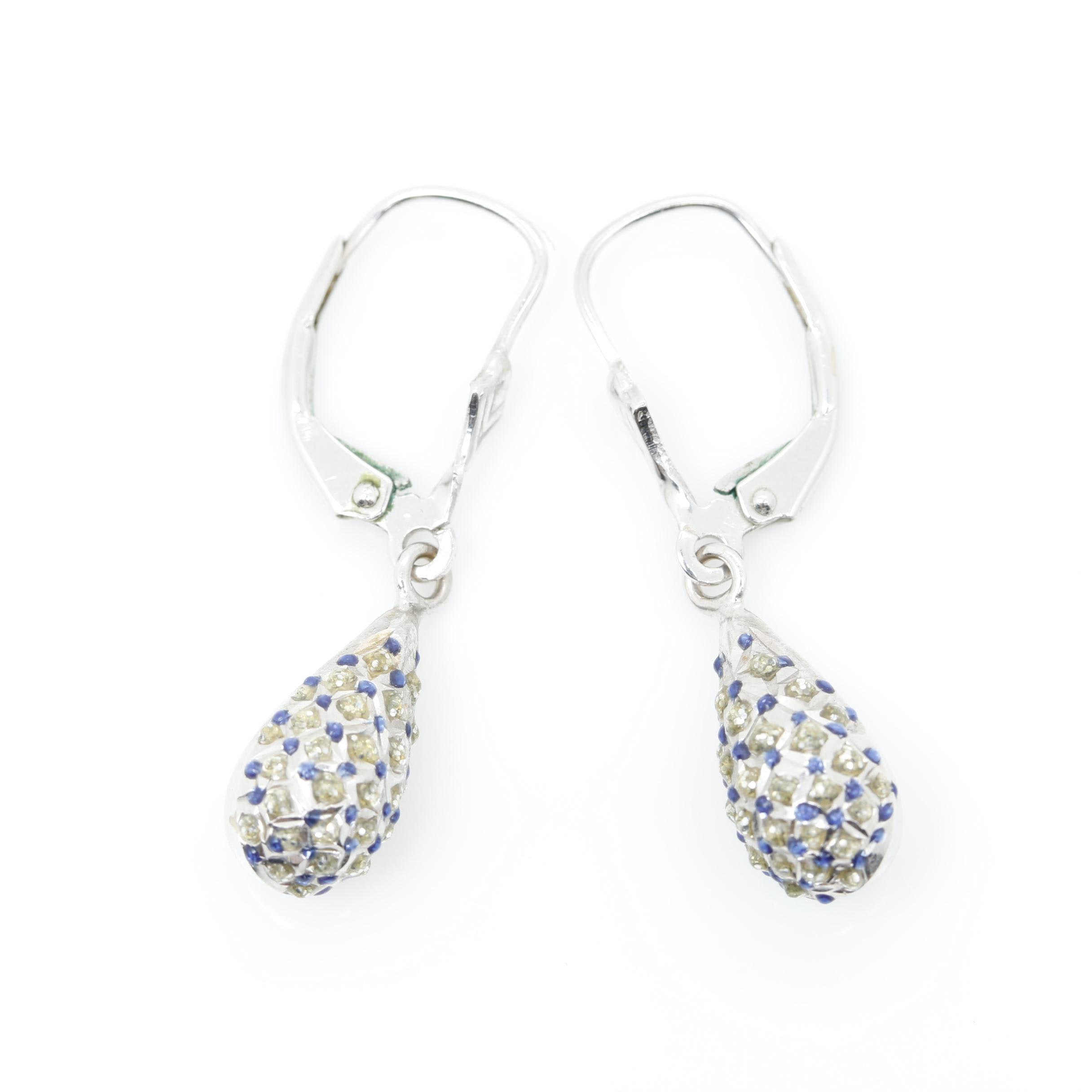 14K White Gold Glitter In Resin and Enamel Drop Earrings