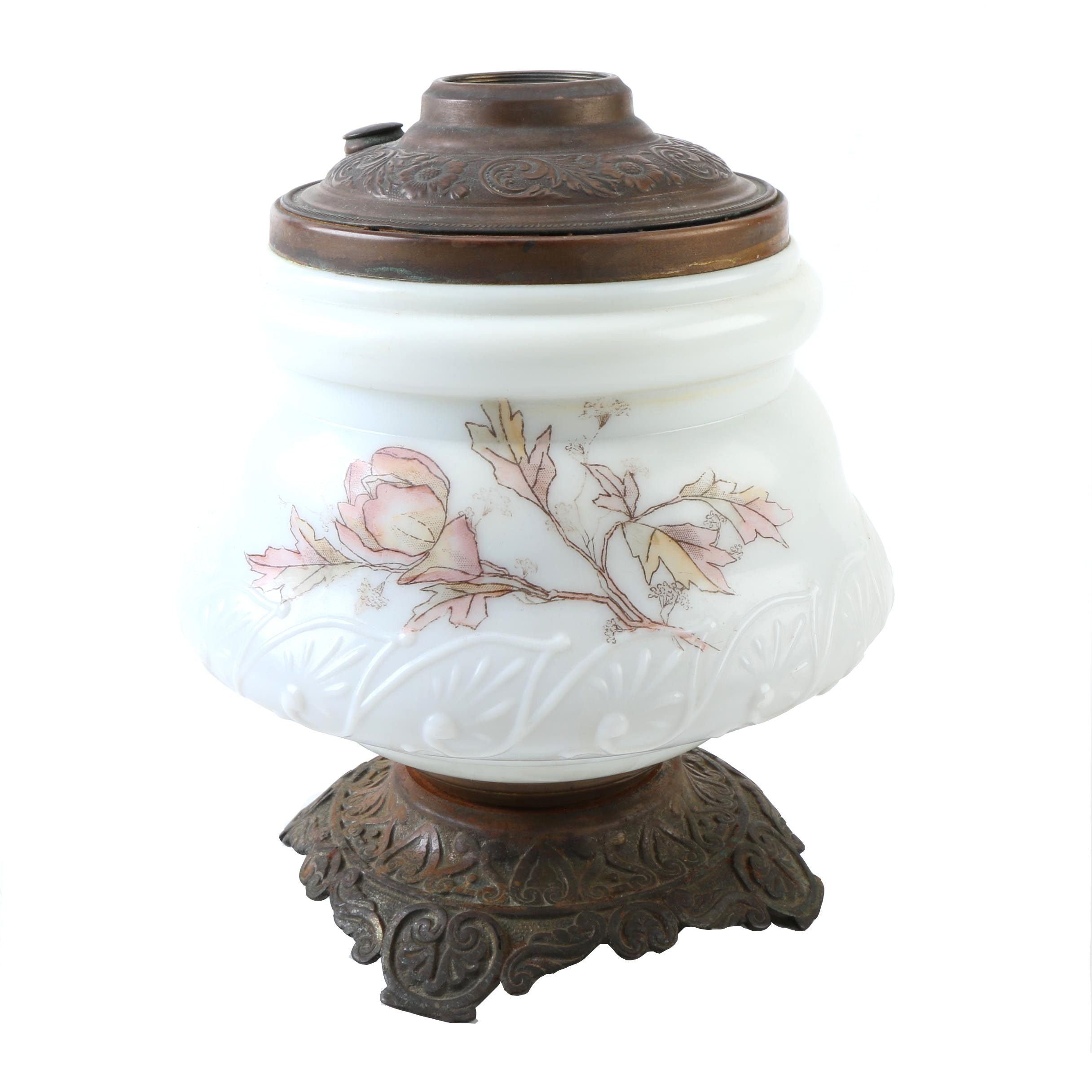 Vintage White Porcelain Lamp Base with Floral Design