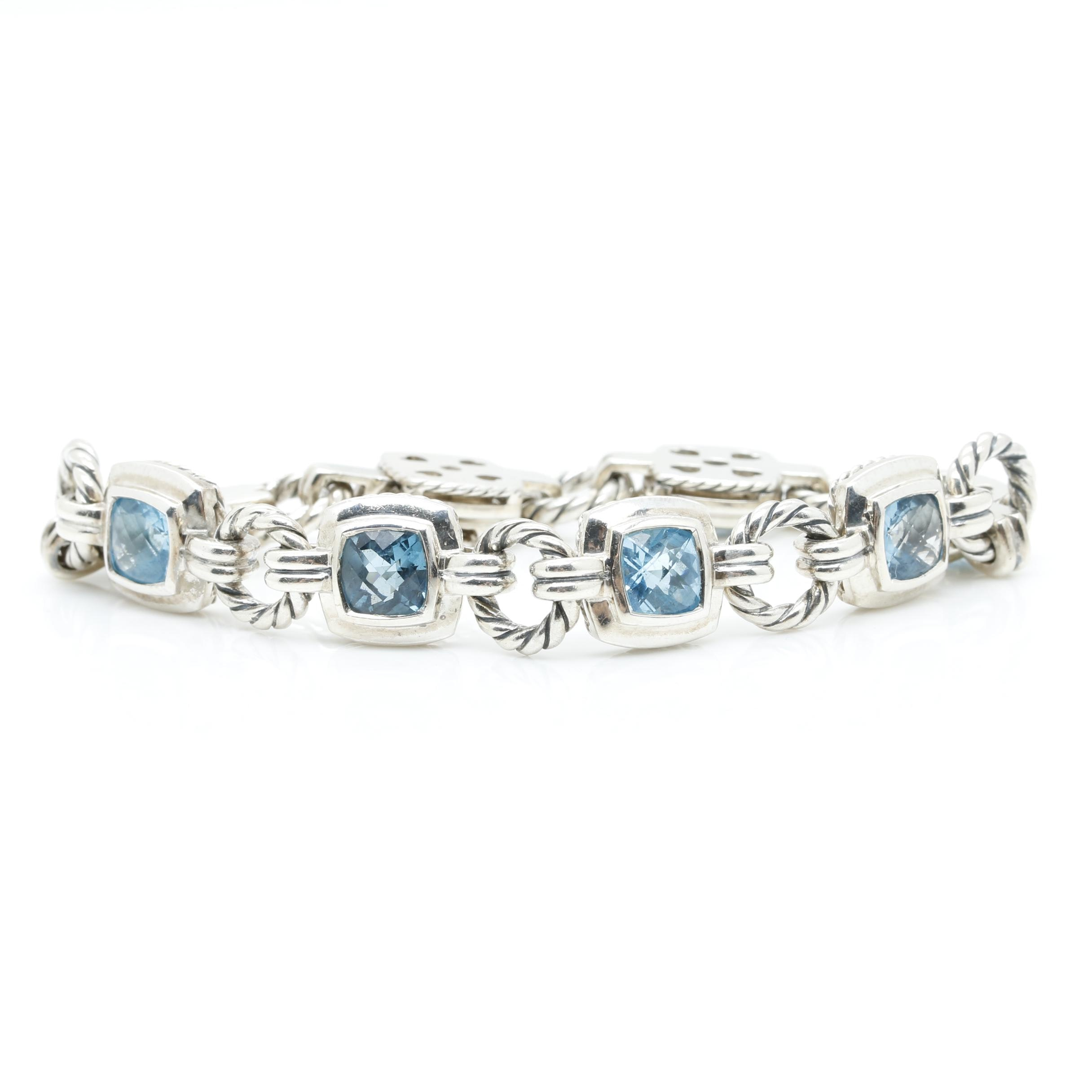 David Yurman Sterling Silver Blue Topaz Bracelet