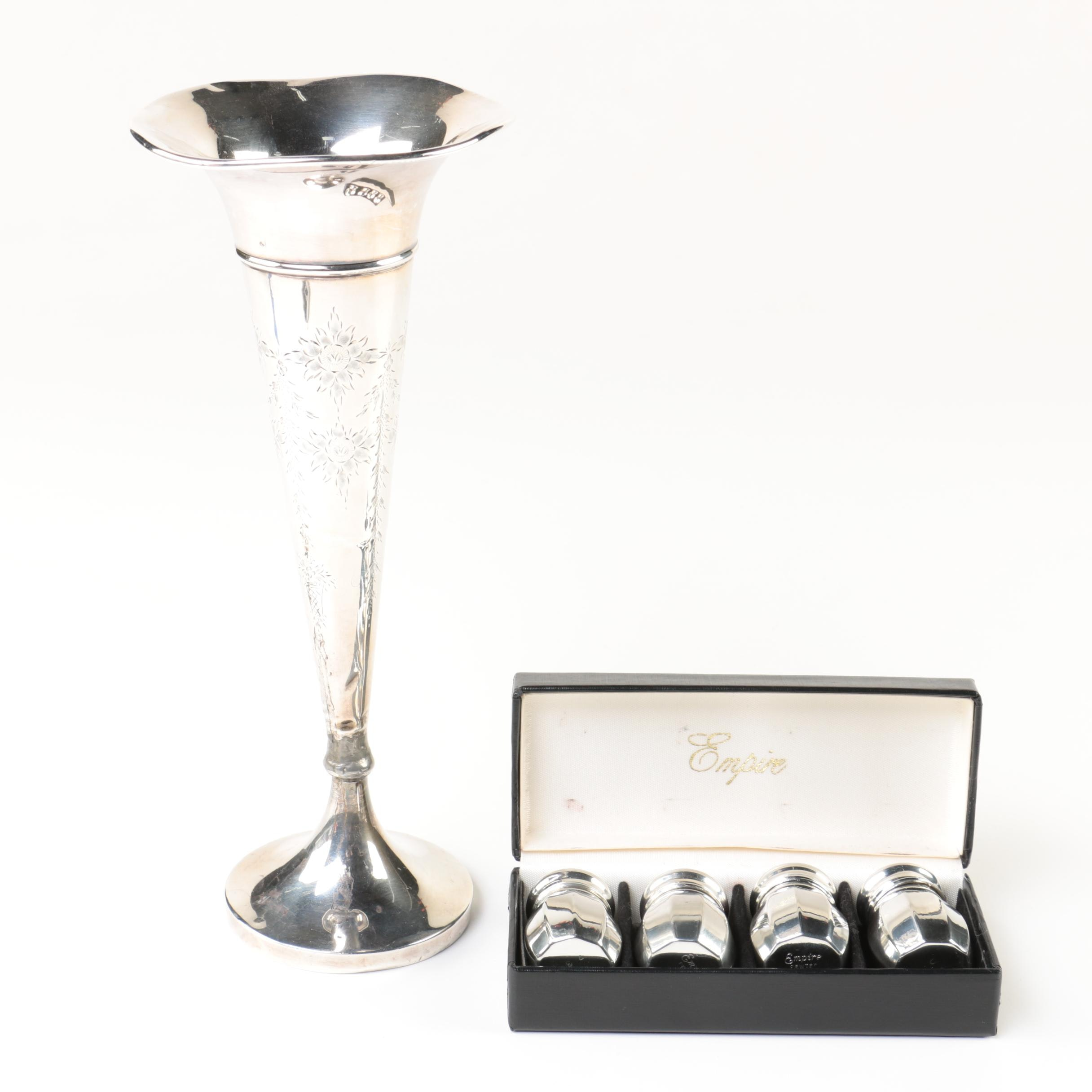Weighted Sterling Silver Vase with Empire Pewter Shakers