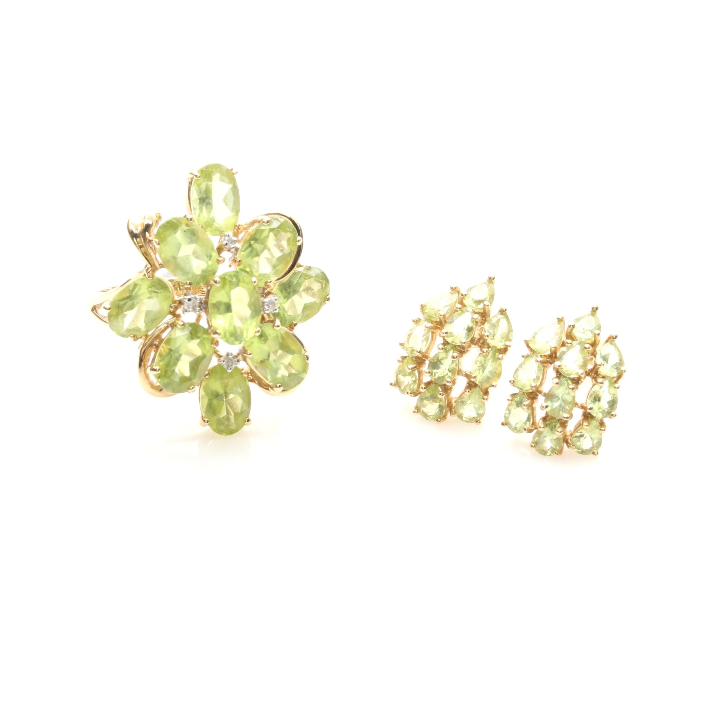 14K Yellow Gold Peridot Ring and Earrings Including Diamonds