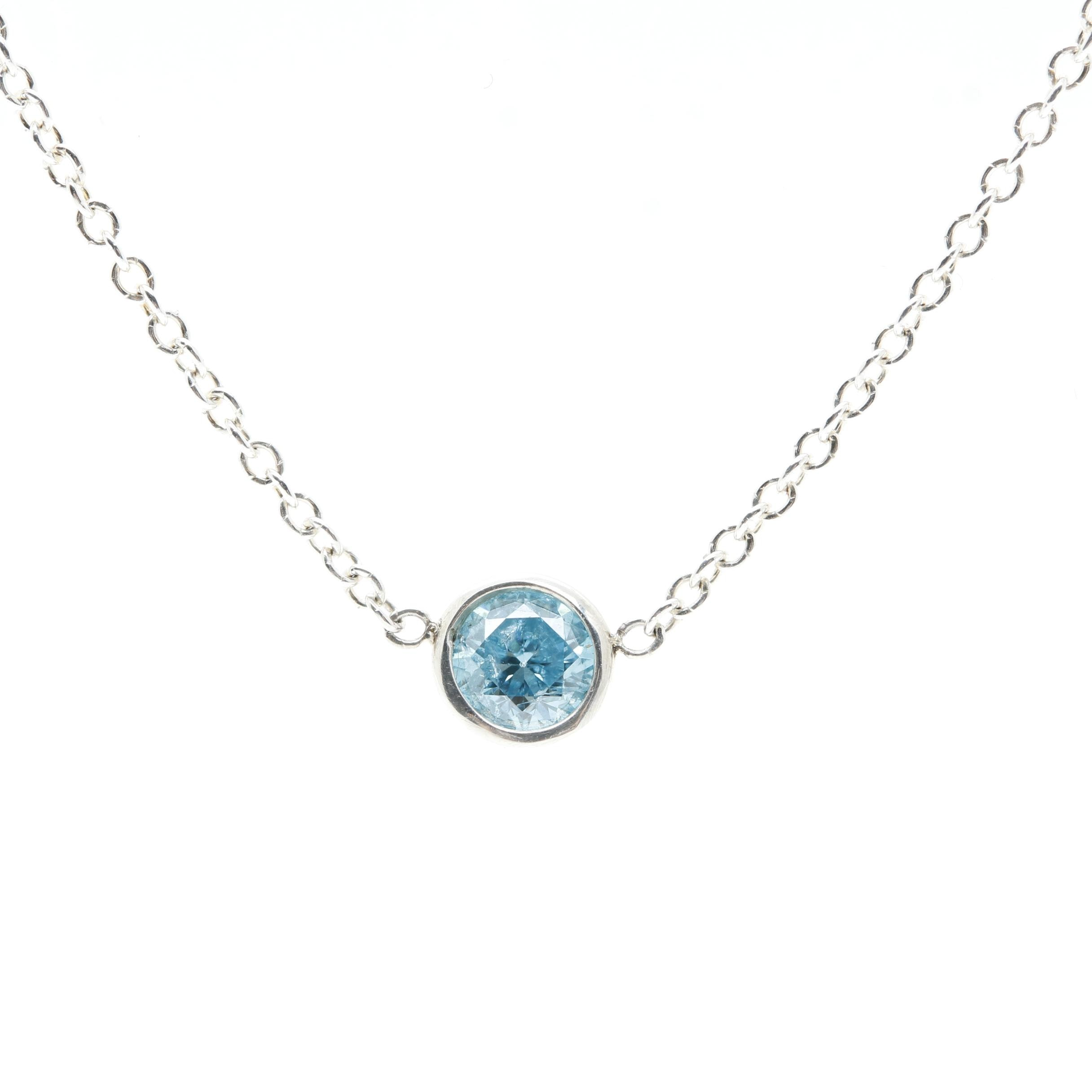 Sterling Silver Blue Diamond Necklace
