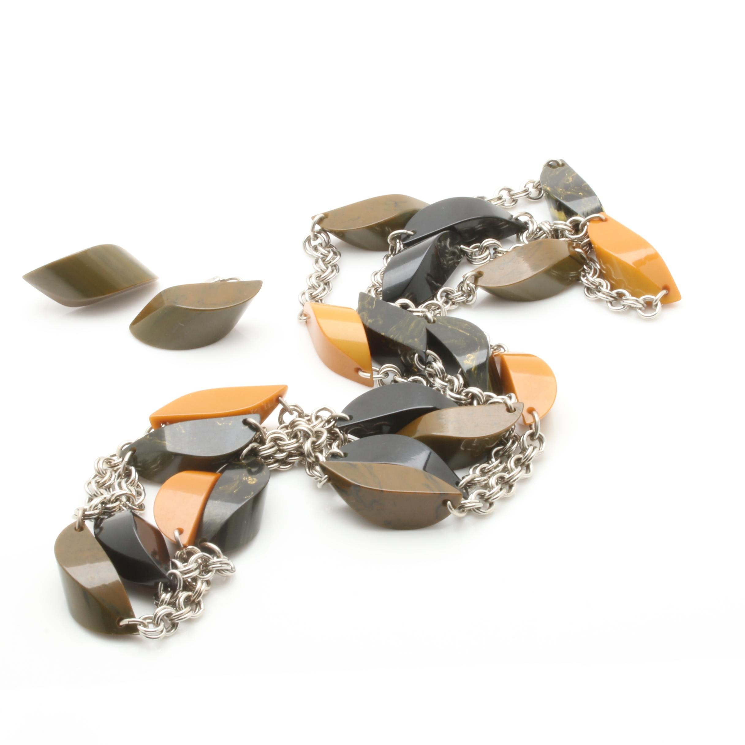 Bakelite Silver Tone Chain Necklace and Earring Set