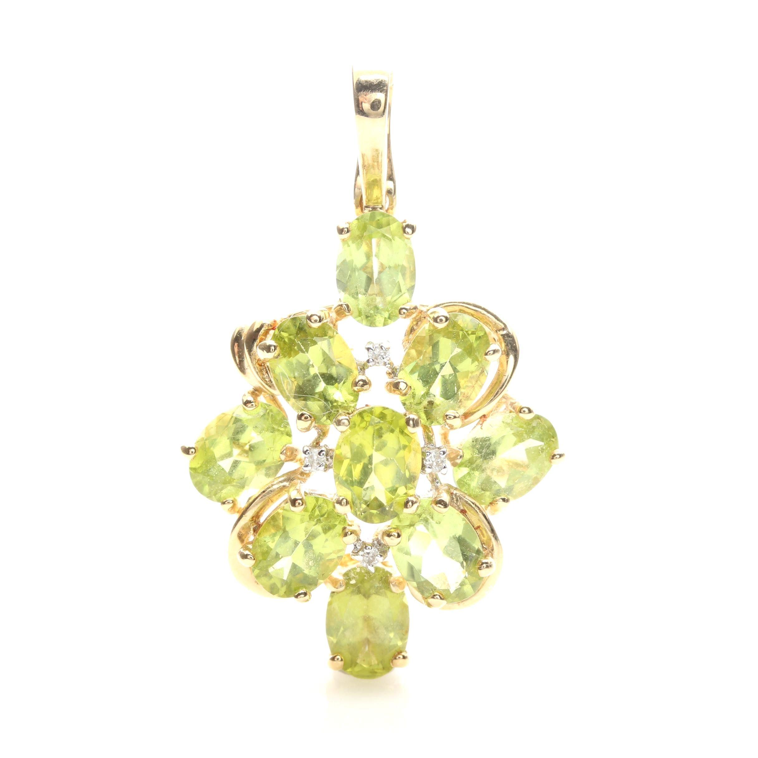 14K Yellow Gold Peridot and Diamond Cluster Pendant