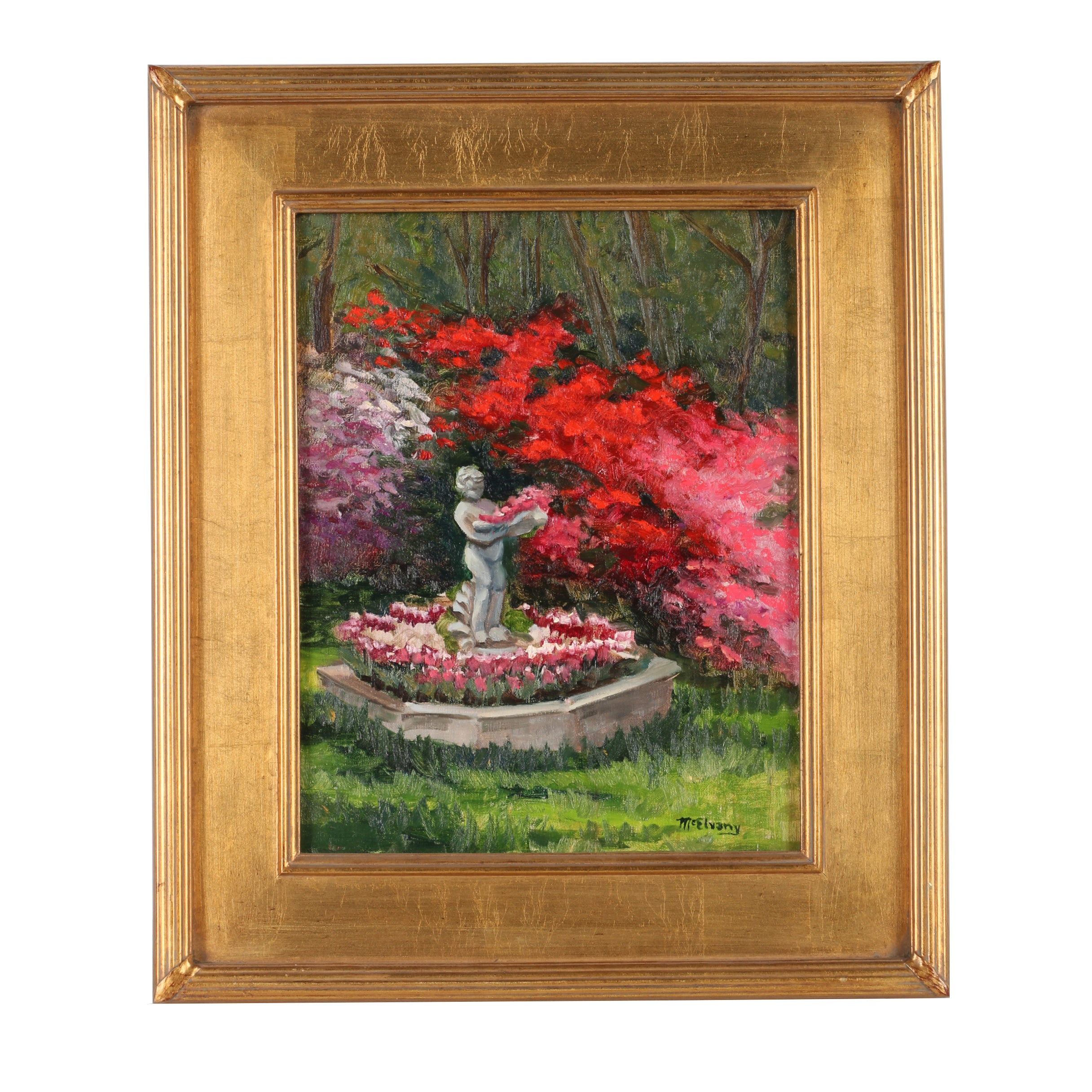 McElvany Oil Painting of a Garden Landscape