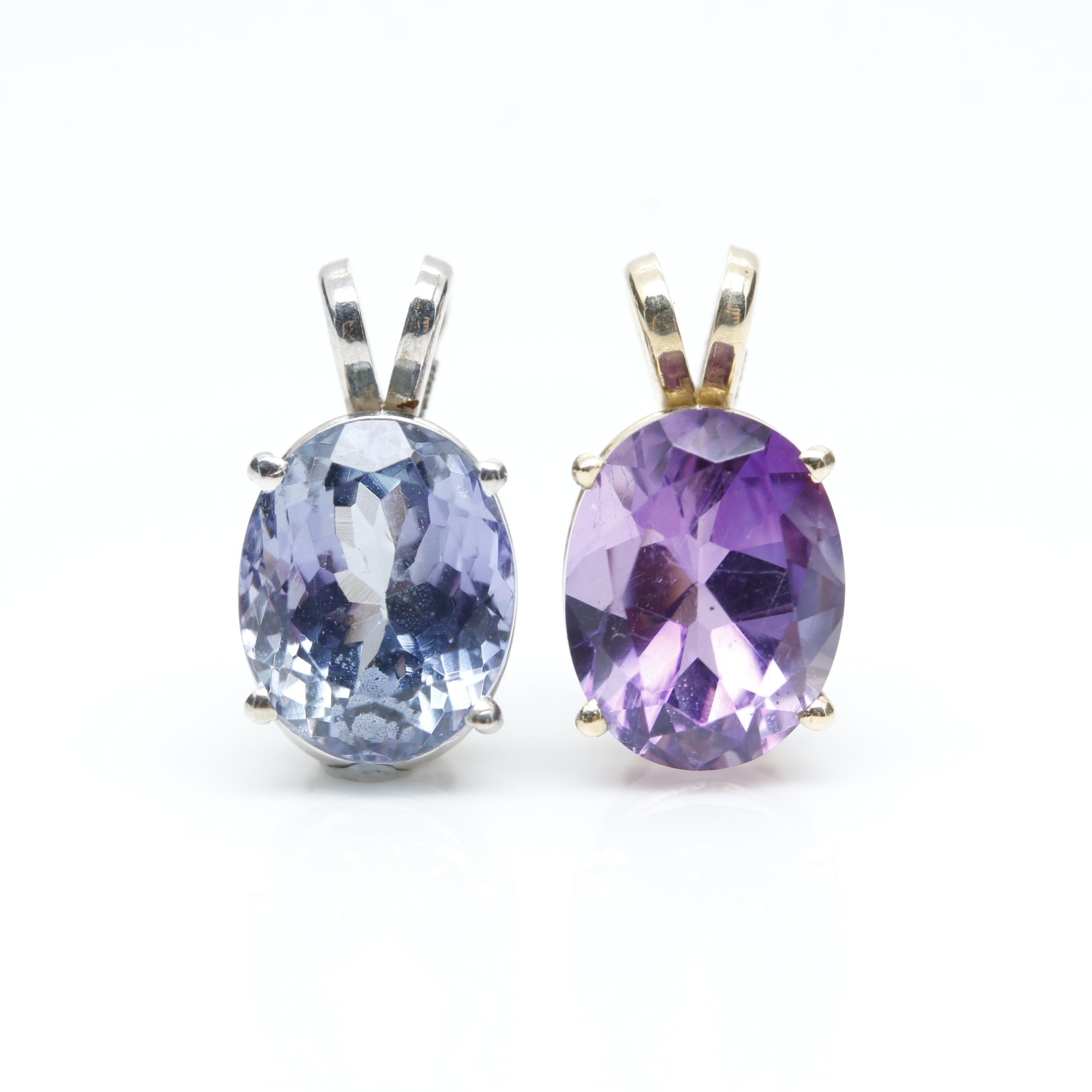 14K White Gold Tanzanite and 14K Yellow Gold Amethyst Pendants