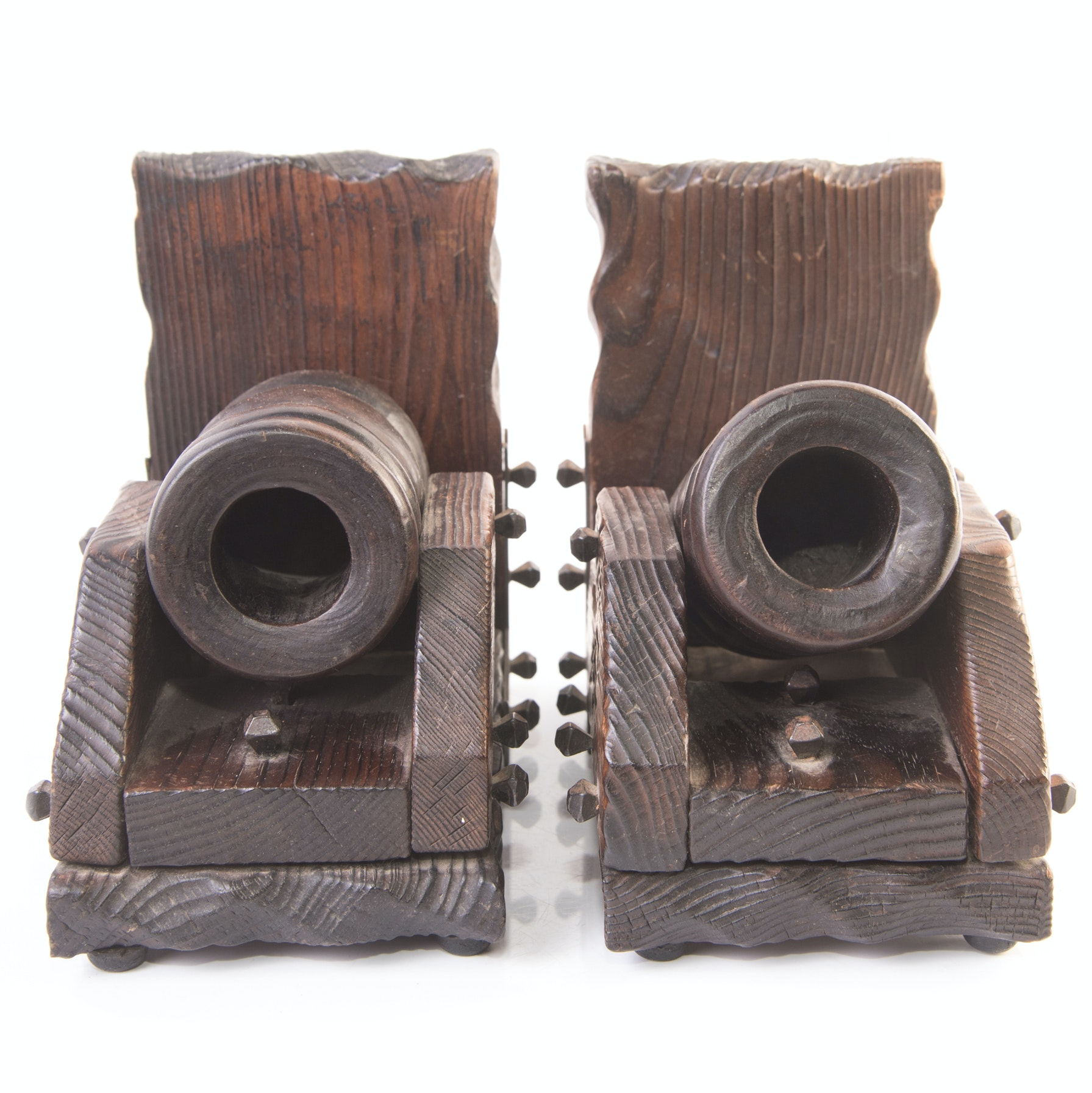 Vintage Wooden Cannon Bookends