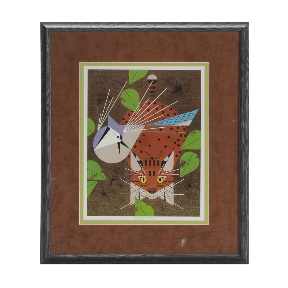 "Charley Harper Offset Lithograph Print ""Blue Jay Patrol"""