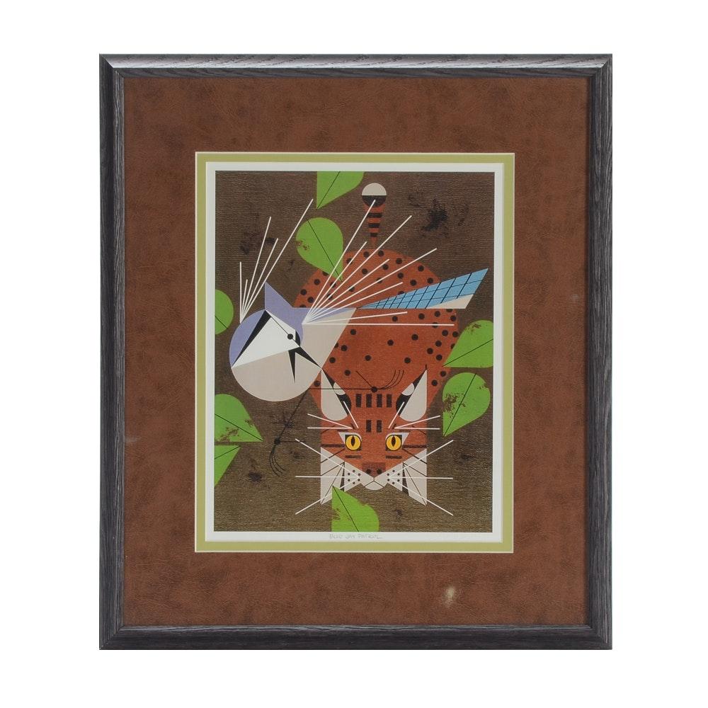 "Charley Harper Offset Lithograph Print ""Blue Jay Patrol"""