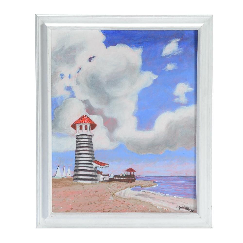 Elliot Jordan Acrylic Painting on Canvas of  Beach Scene with Lighthouse