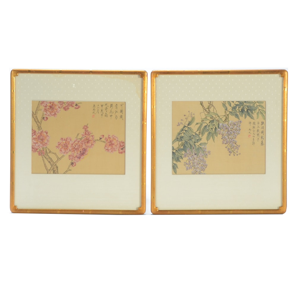 East Asian Ink and Watercolor Paintings on Silk
