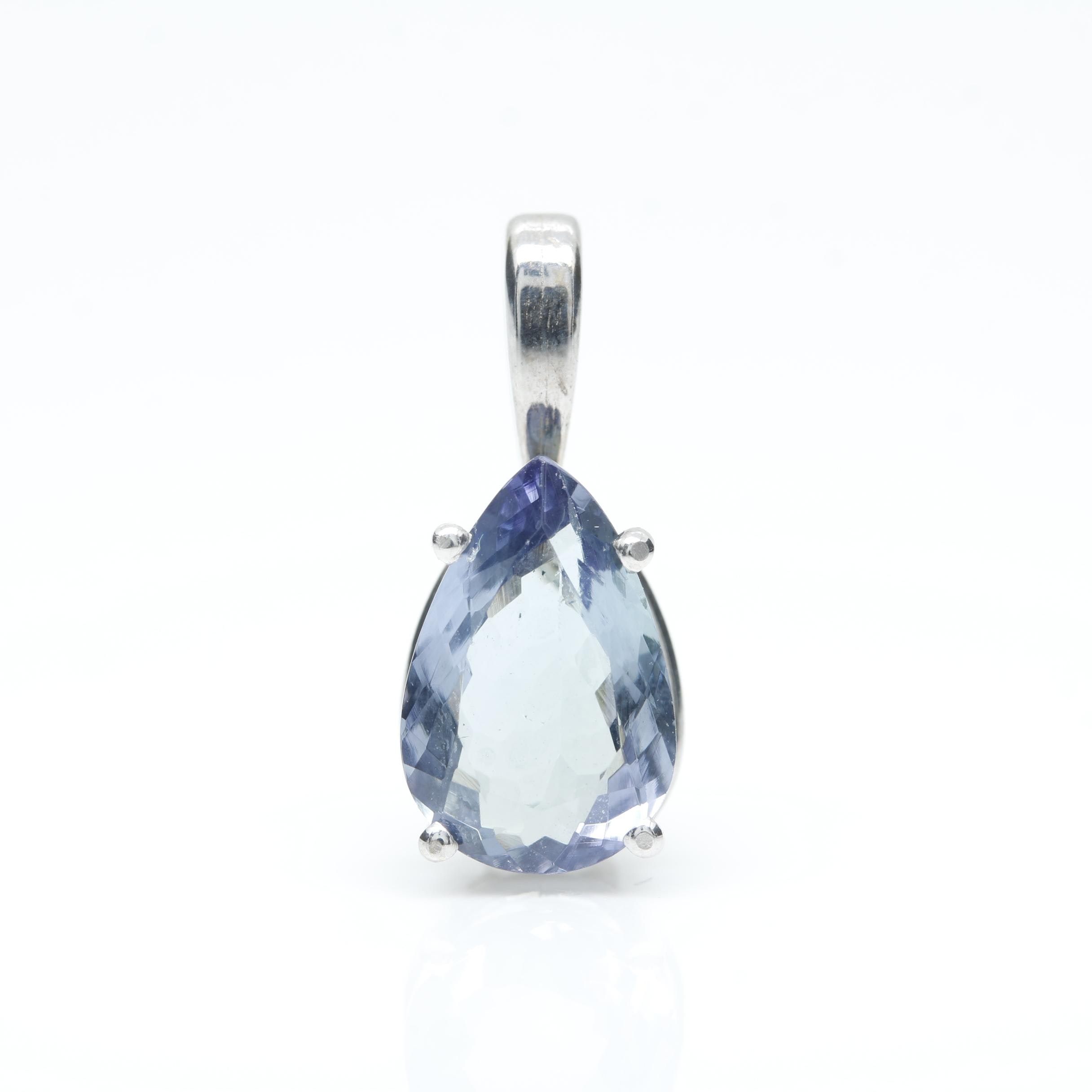 14K White Gold Tanzanite Pendant