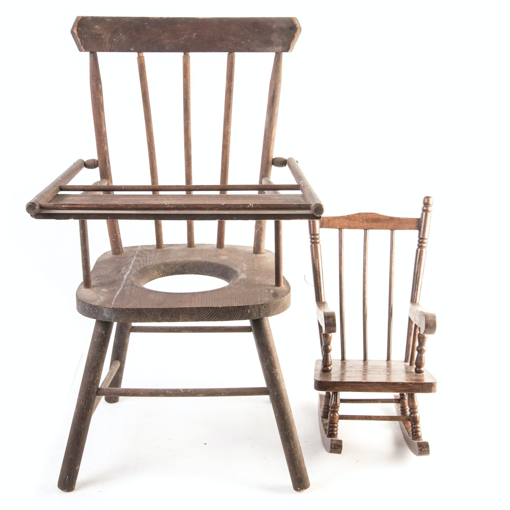 Decorative Vintage Potty Chair and Doll Rocker