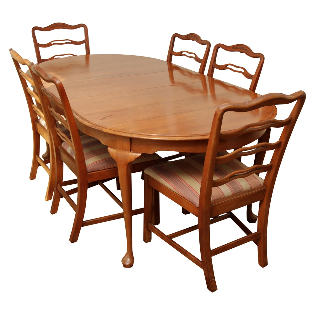 Chippendale Style Cherry Dining Table and Six Chairs