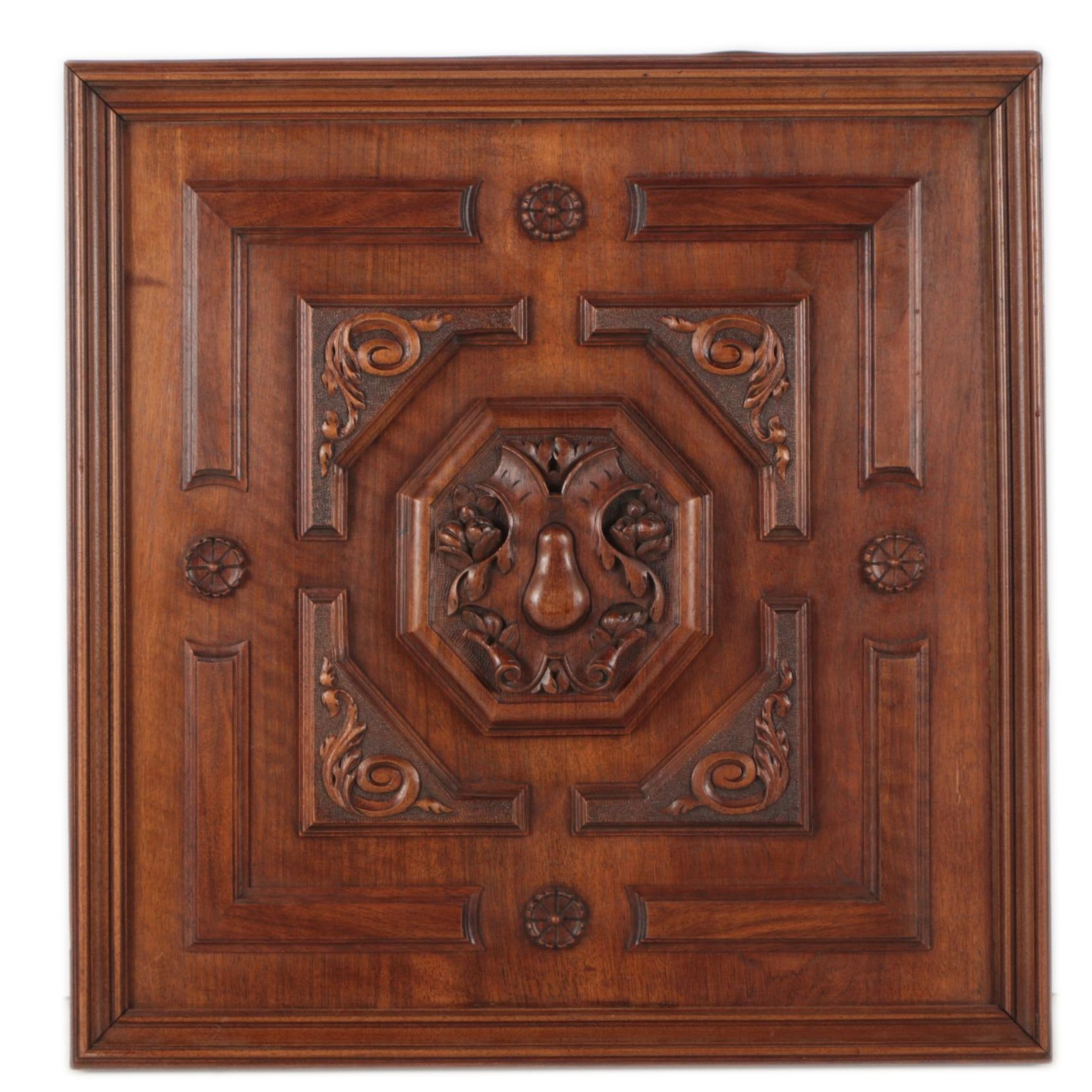 Antique Mahogany Carved Panel
