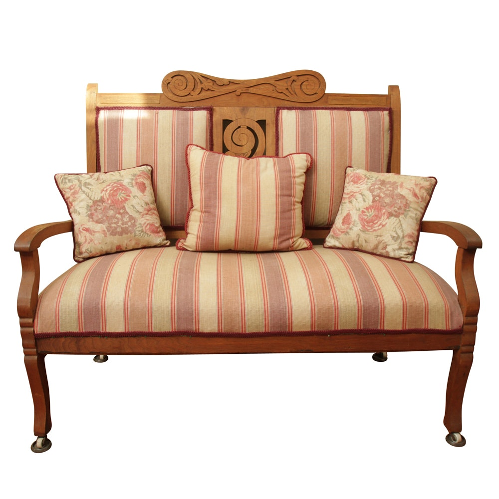 Carved and Upholstered Settee