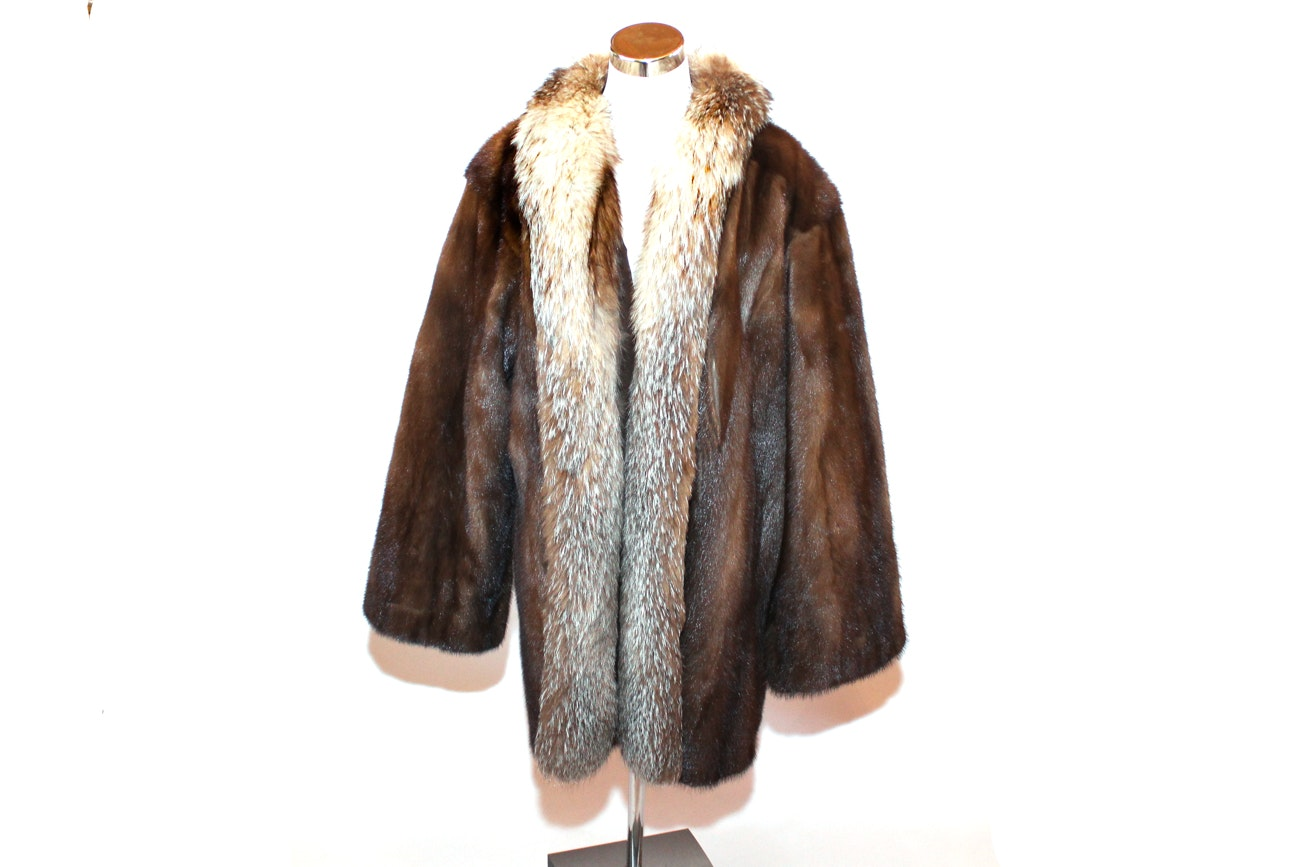 Regency Canadian Fox and Mink Fur Coat