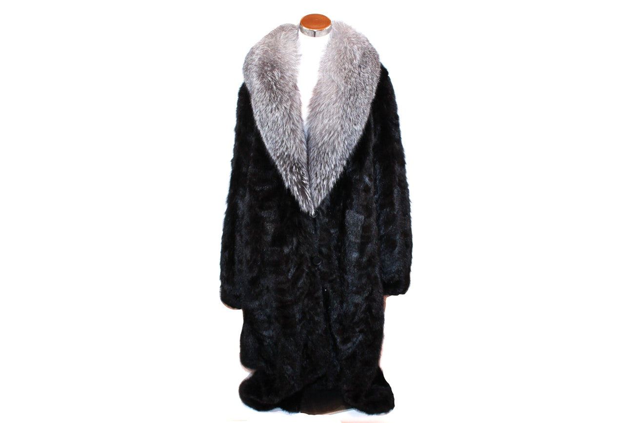 Henig Furs Fox and Mink Fur Coat