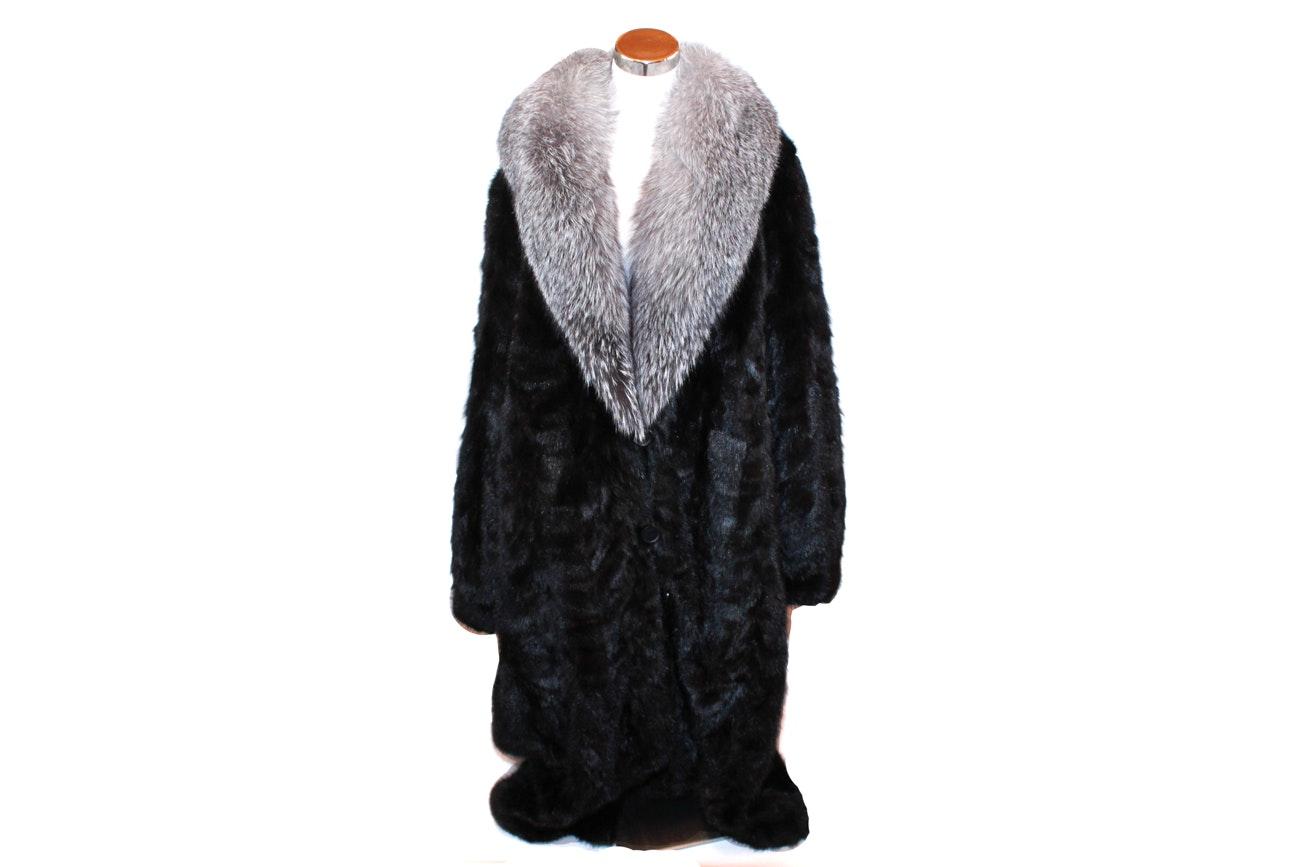 Henig Furs Fox and Mink Fur Coat