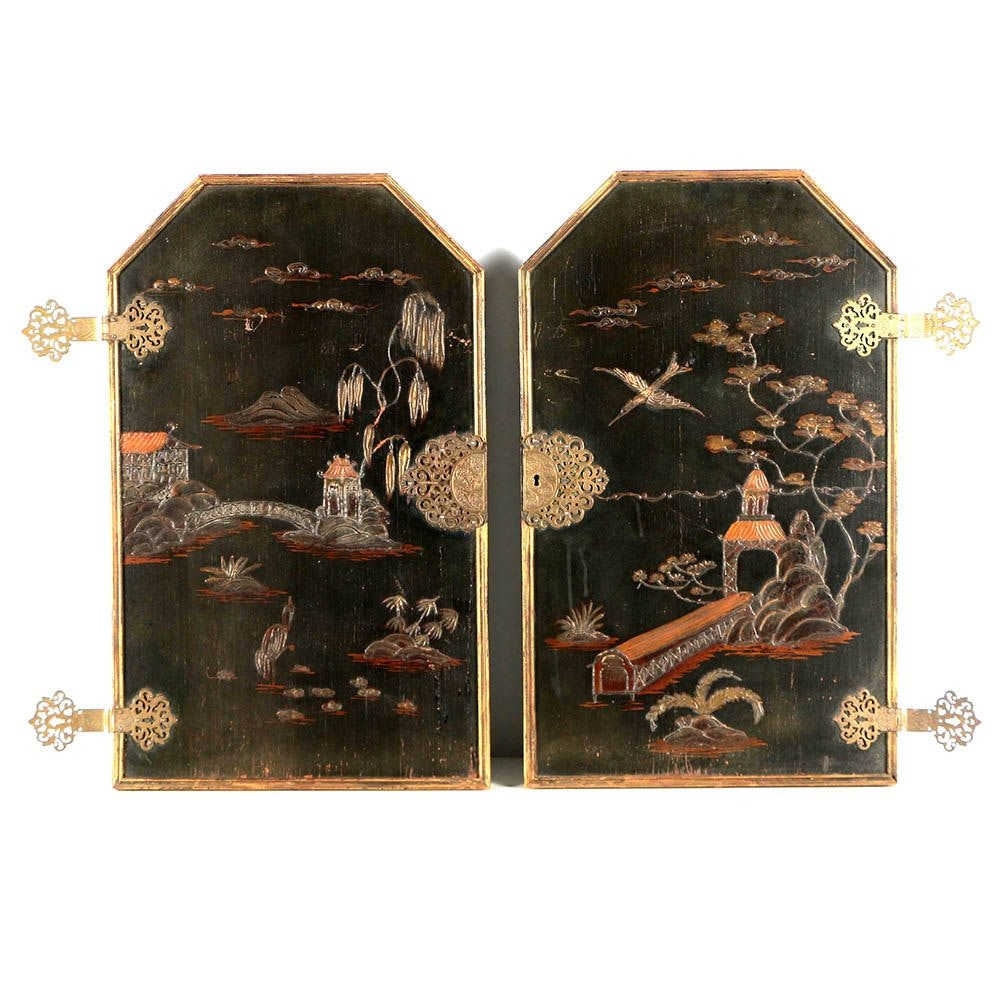 Antique Chinoiserie Wood and Brass Cabinet Door Panels