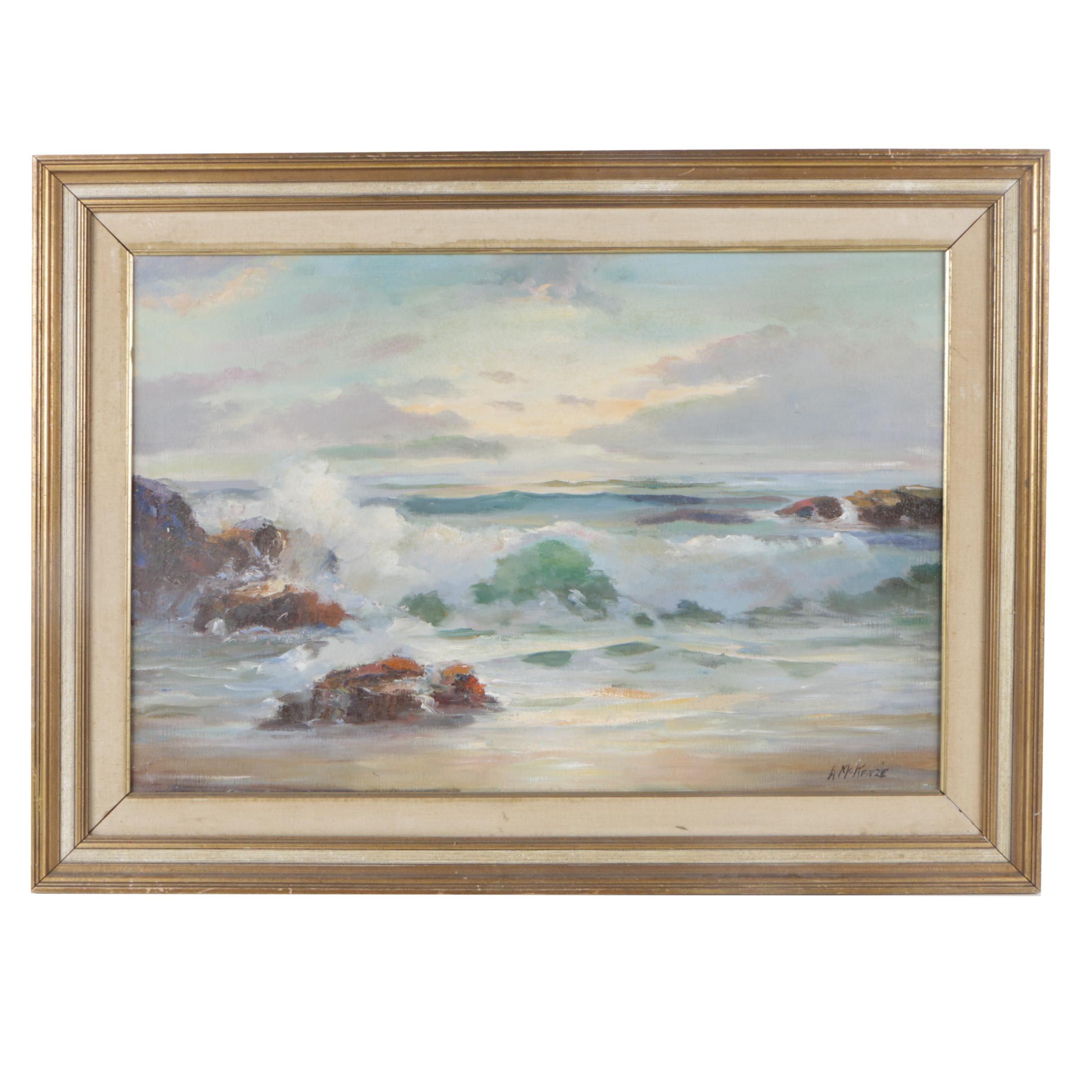 "Artie MacKenzie Oil Painting ""Coastal Sunrise"""