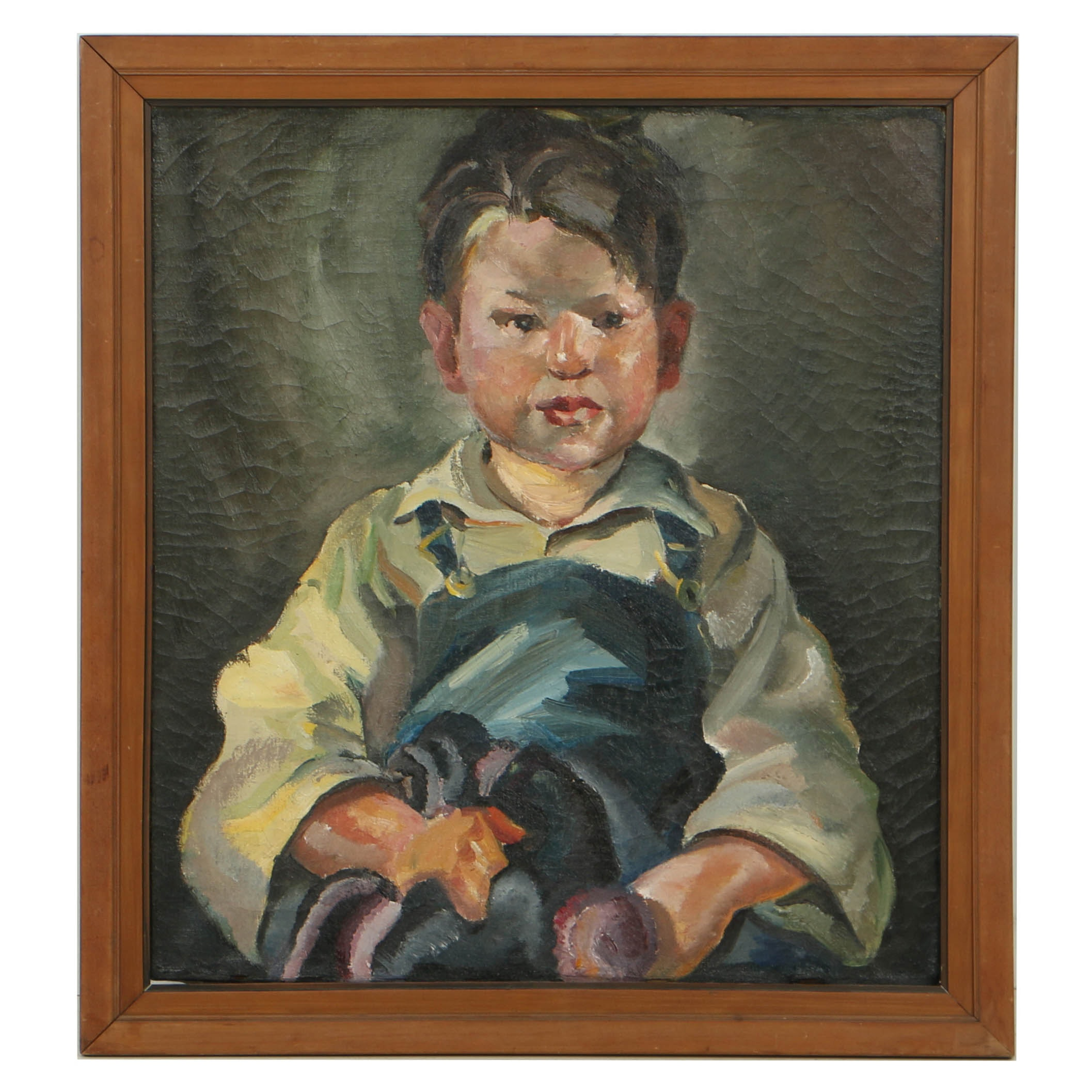 Attributed to William Sommer Oil Portrait on Canvas of Young Boy