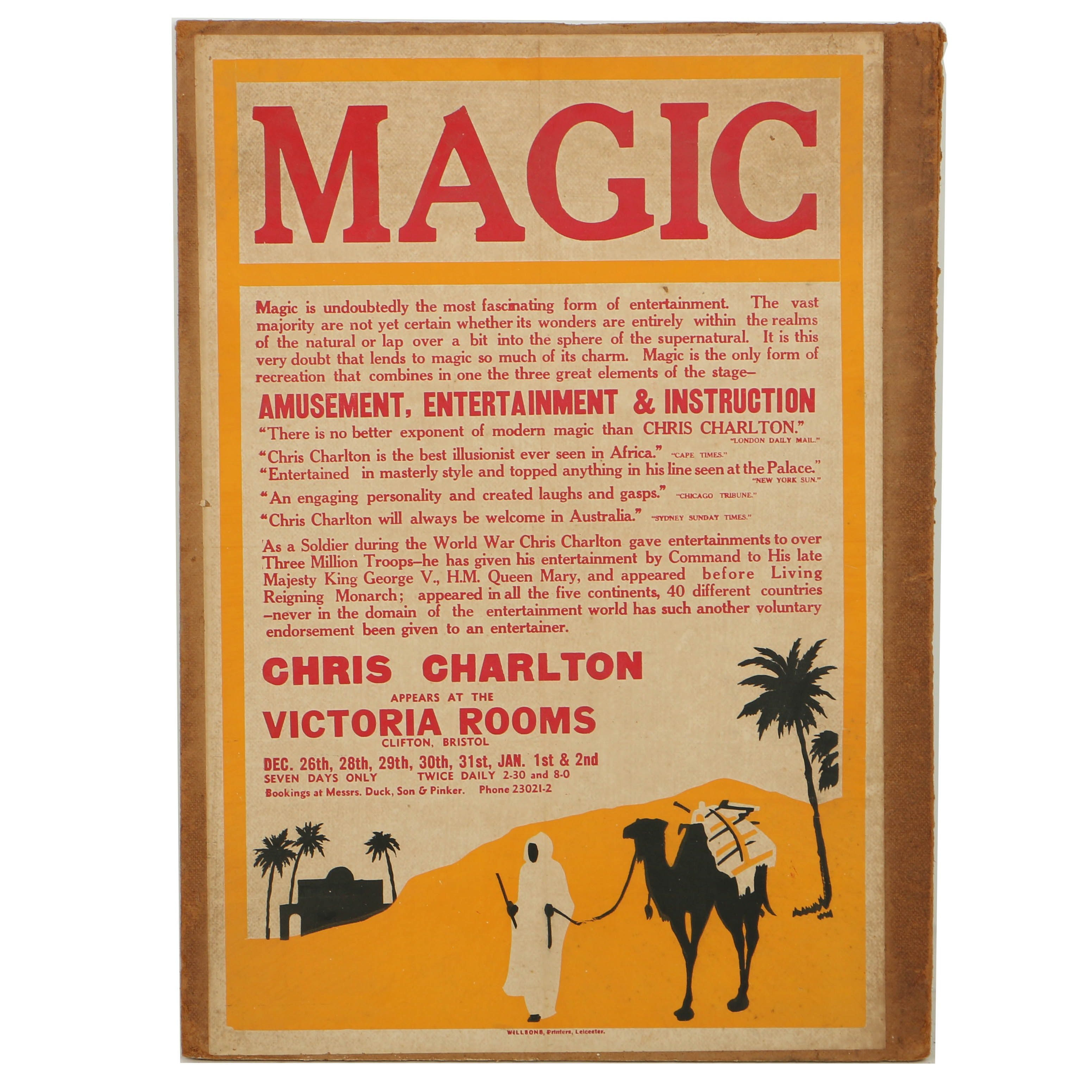 Antique Chris Charlton Magic Poster Mounted to Particle Board