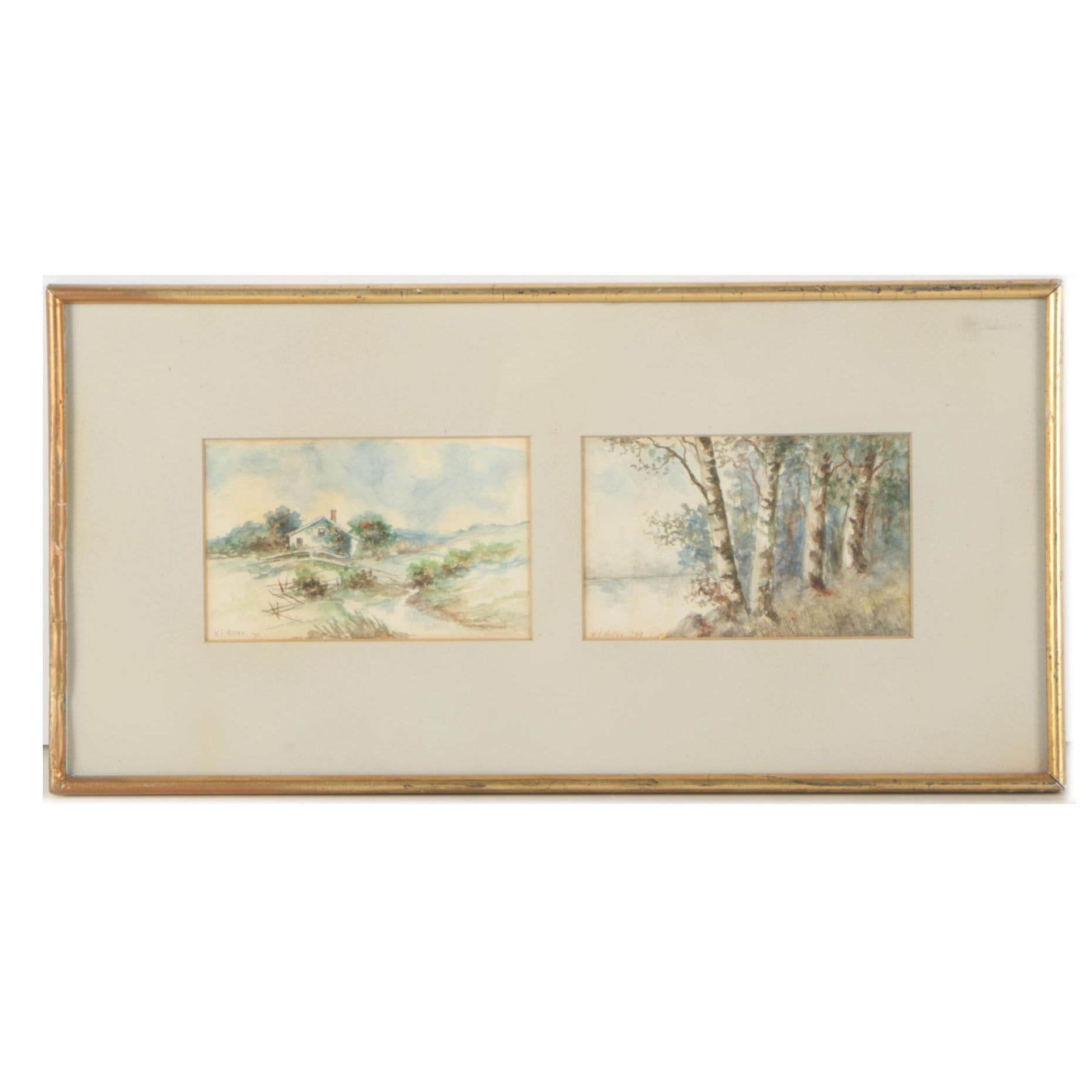 "1899 N.F. Miller Watercolor Paintings ""Cottage"" and ""Birches"""