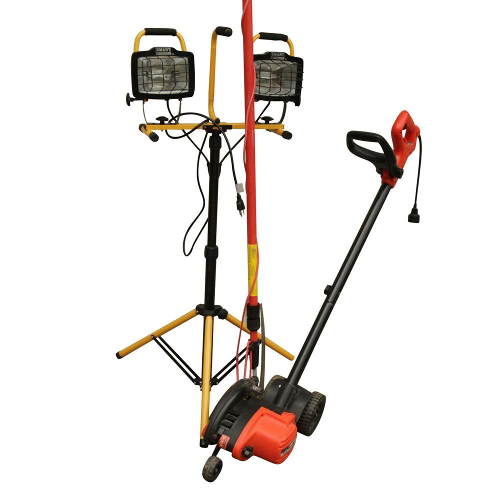 Black & Decker Edger, Smart Electrician Twin Head Work Light, and Tree Trimmer