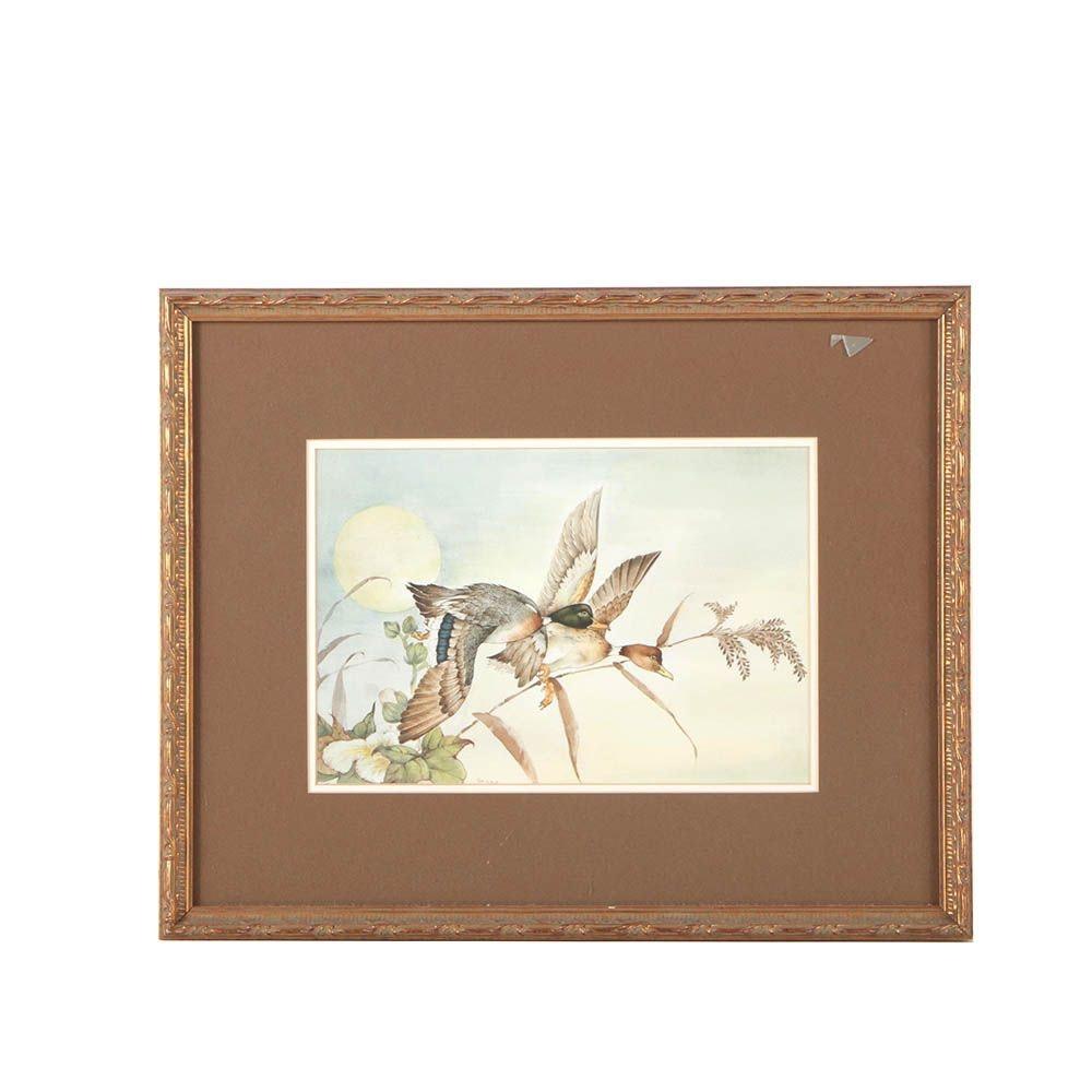 "Shishir Watercolor Painting ""Mallards in Flight"""