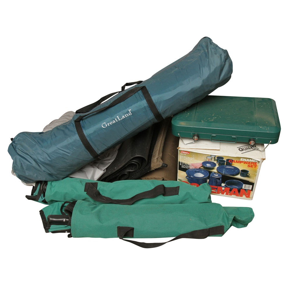 Tent, Pad, Camp Stove and Other Camping Tools, Including Coleman and Great Land