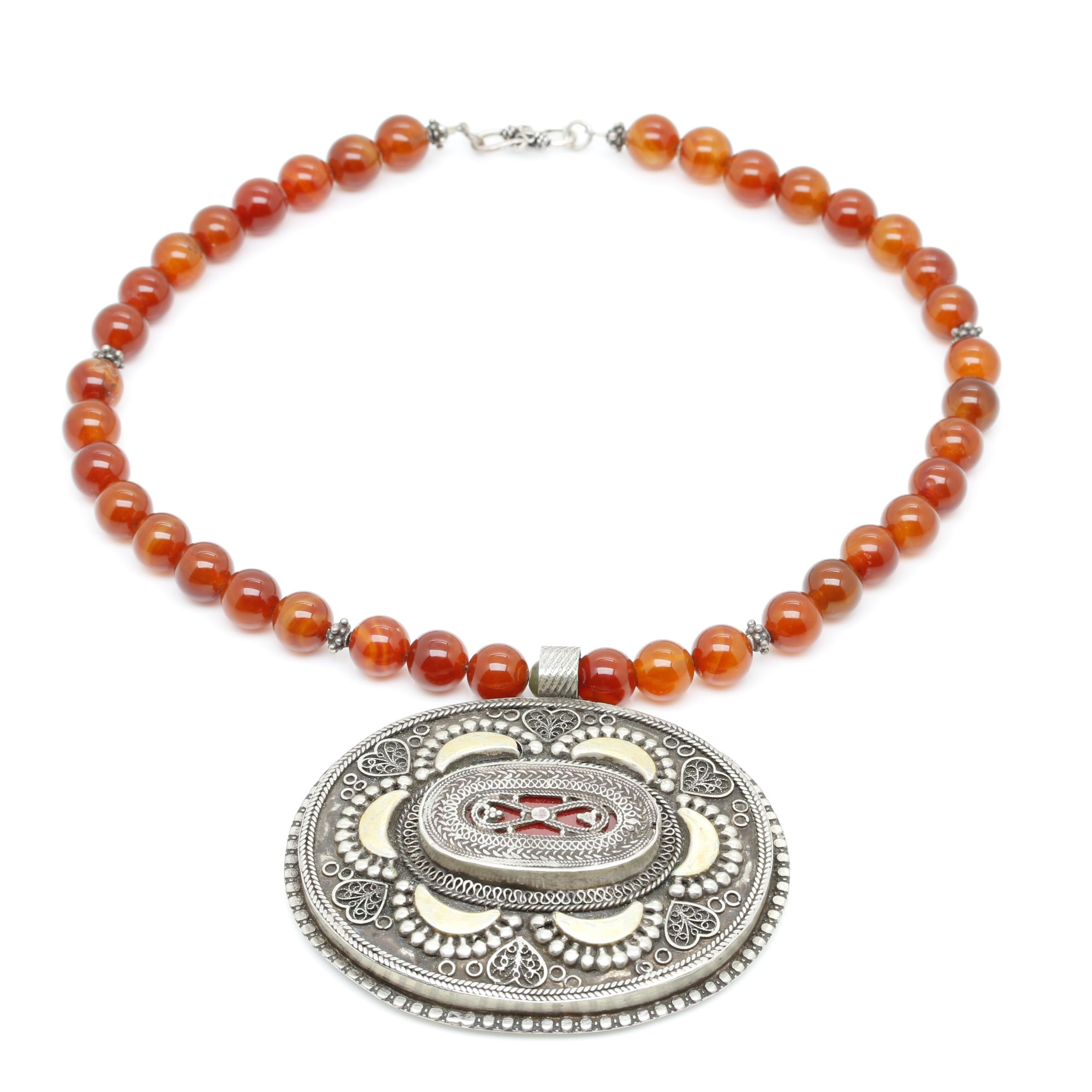Sterling Silver Agate Central Asian Tribal Beaded Pendant Necklace