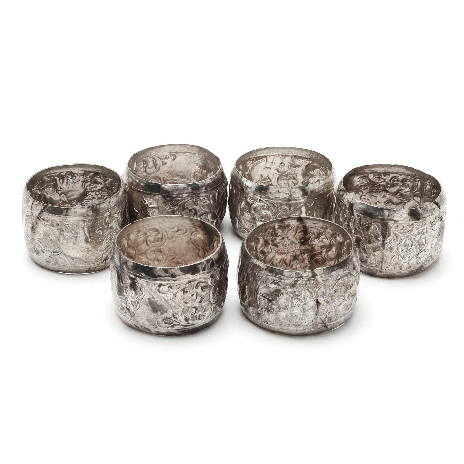 Sterling Silver Embossed Napkin Rings