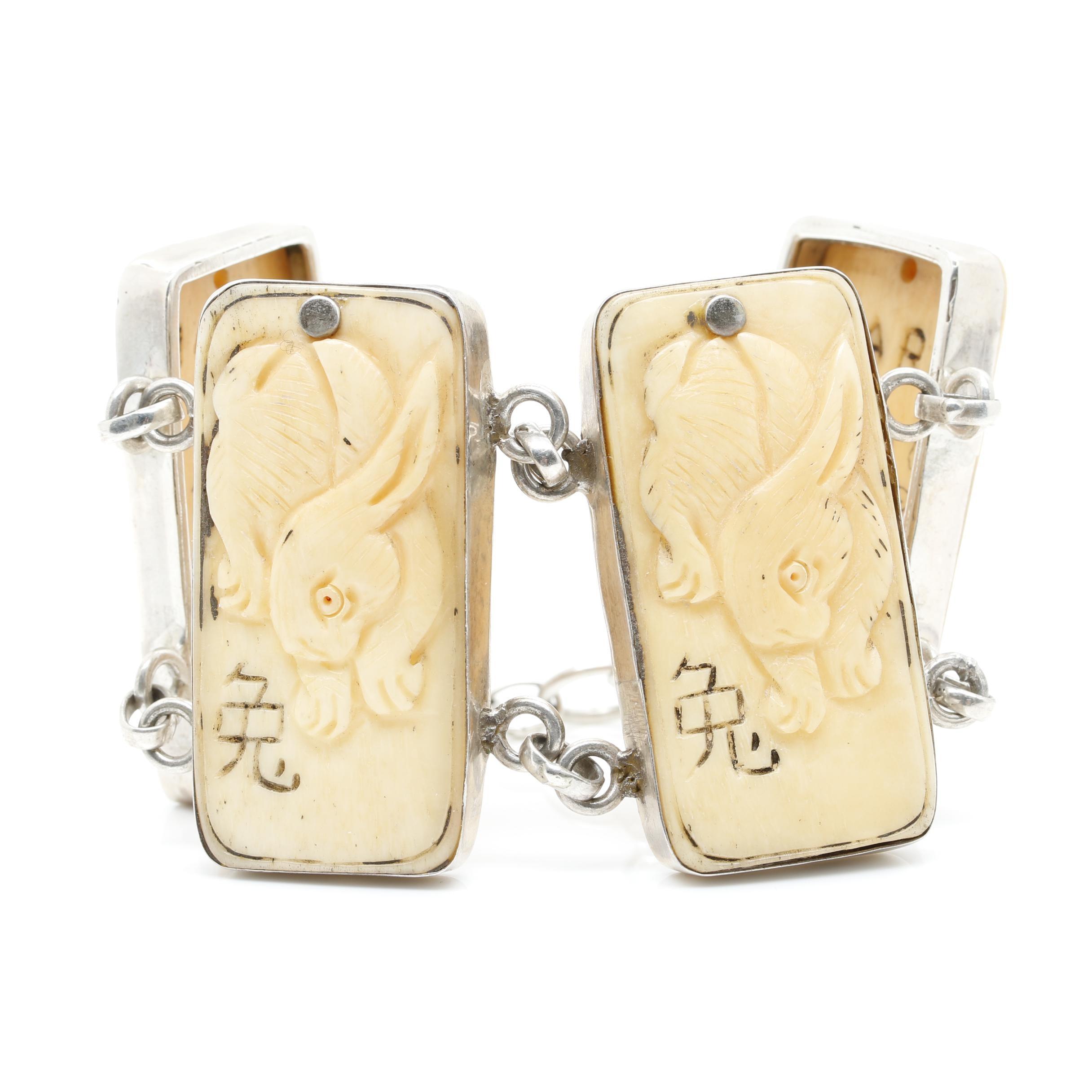 Asian Inspired Sterling Silver Carved Bone Zodiac Bracelet