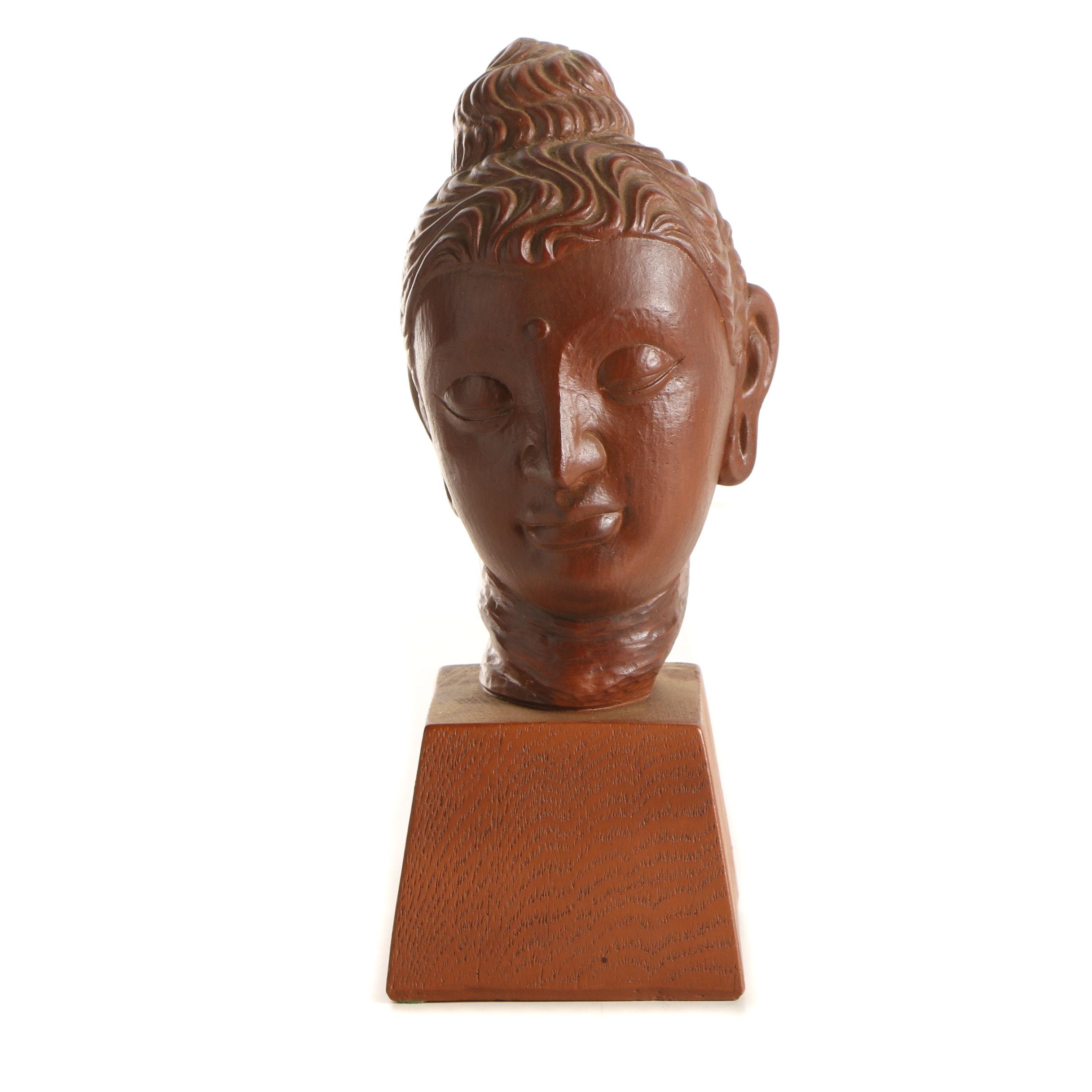 Wooden Buddha Bust