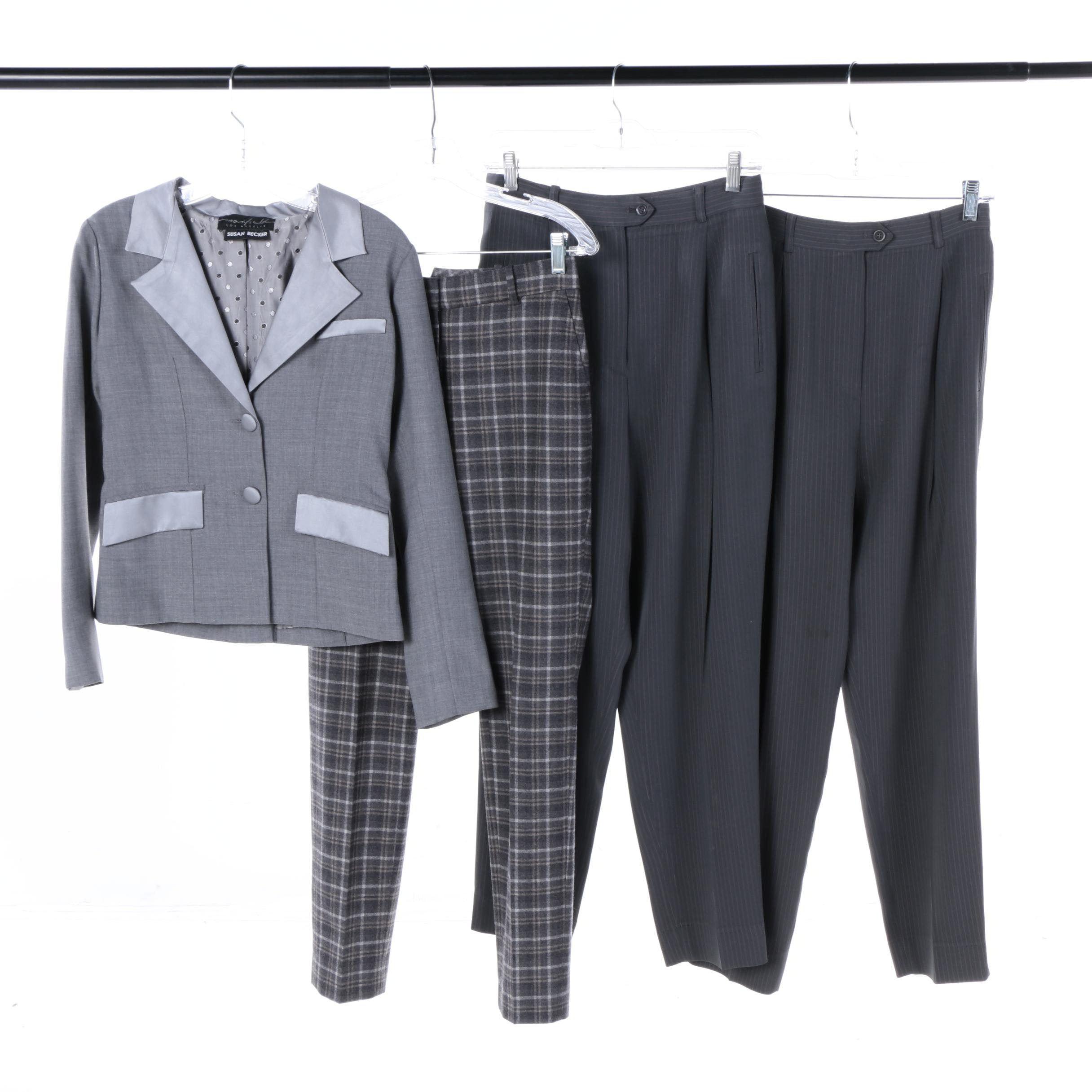 Women's Alex Garfield and Susan Becker Suit Separates Including Plaid Pants