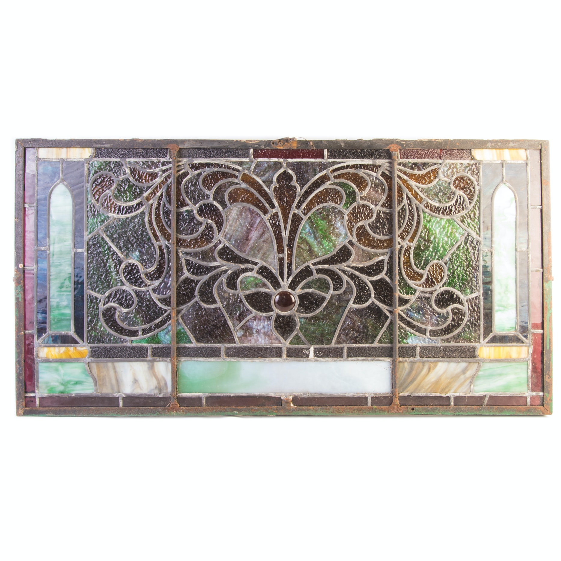 Antique Stained Glass Transom Window Panel