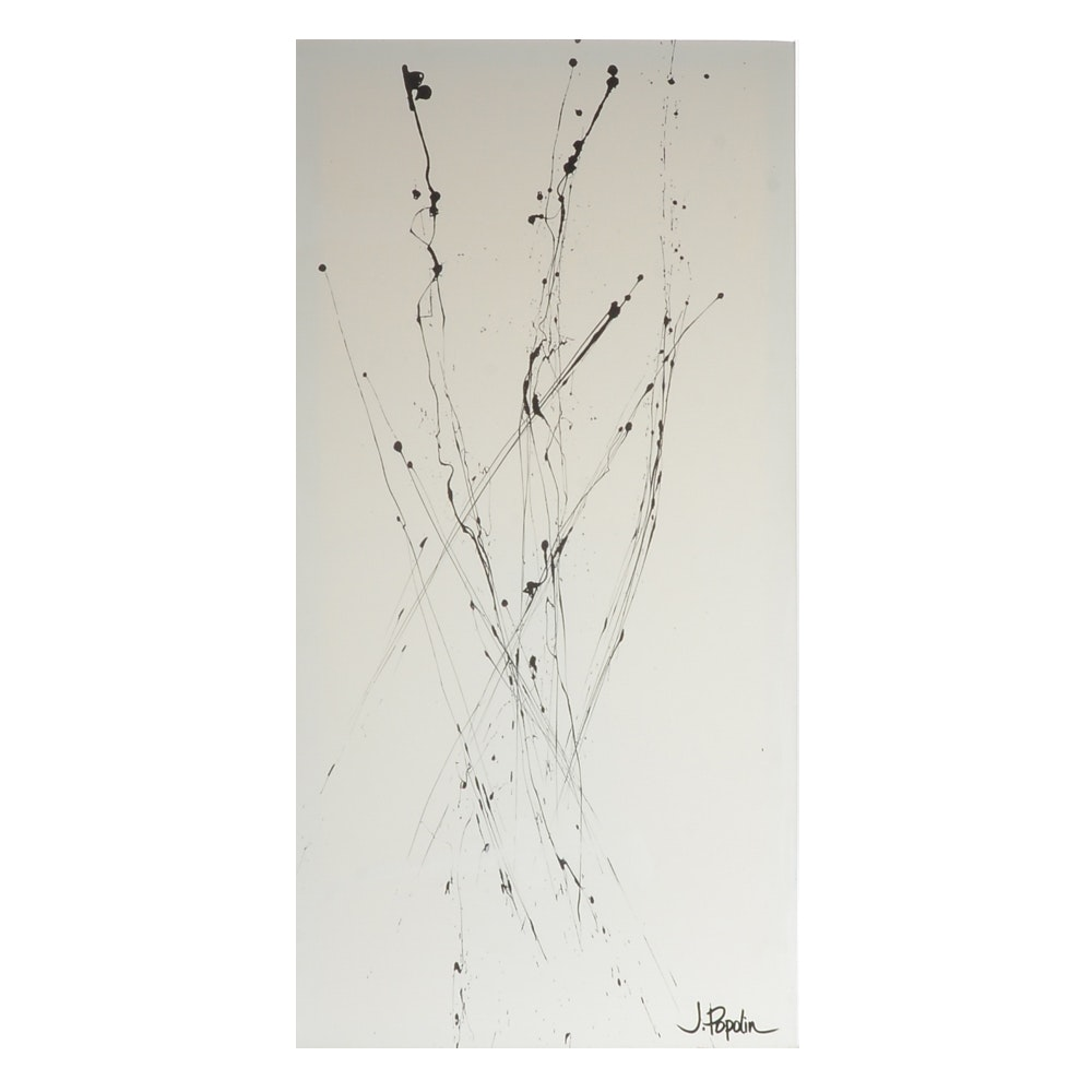 """J. Popolin Abstract Acrylic Painting """"Black Drips on White"""""""