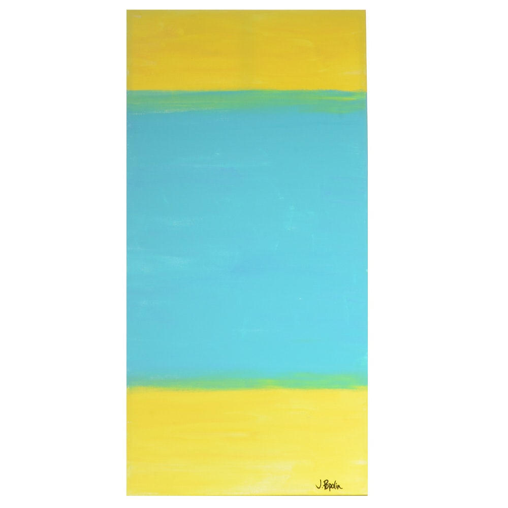 """J. Popolin Abstract Acrylic Painting """"Turquoise and Yellow"""""""