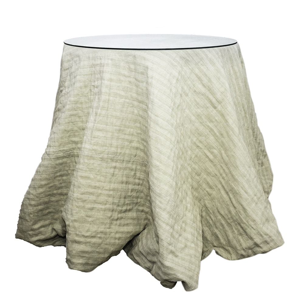Contemporary Accent Table with Fabric Skirting