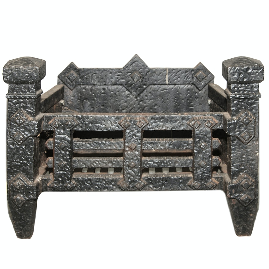 Vintage Cast Iron Fireplace Grate from EBTH.com