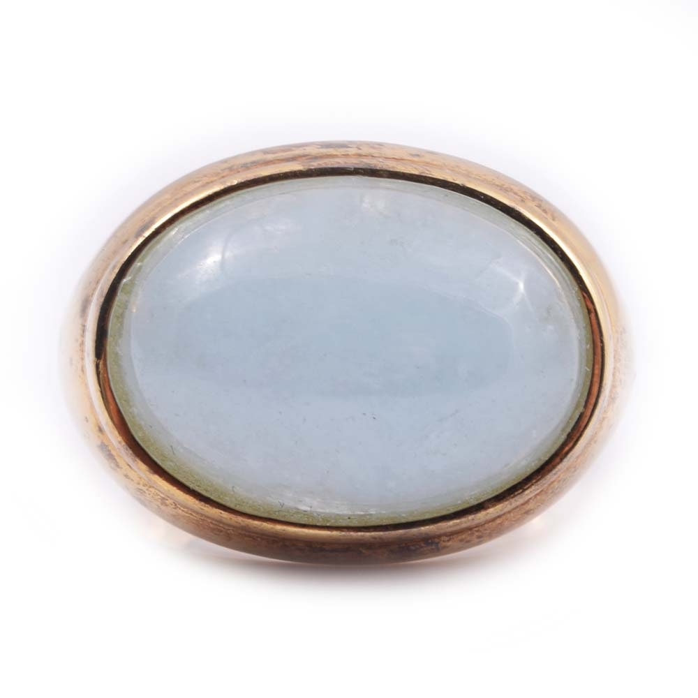 Gold Wash on Sterling Silver and 8.70 CT Aquamarine Ring
