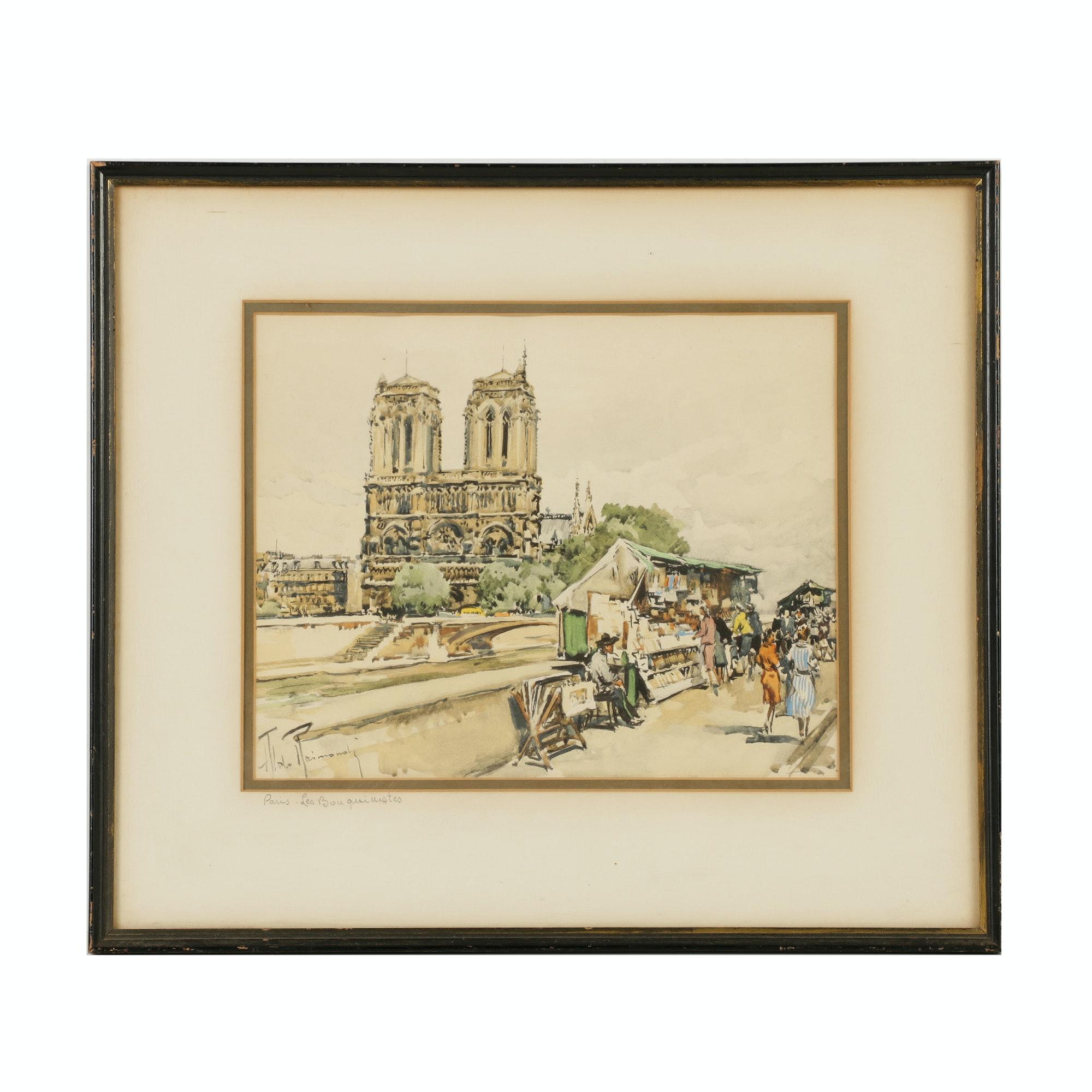 """Aldo Raimondi Lithograph """"Paris - Les Bouquinistes"""""""
