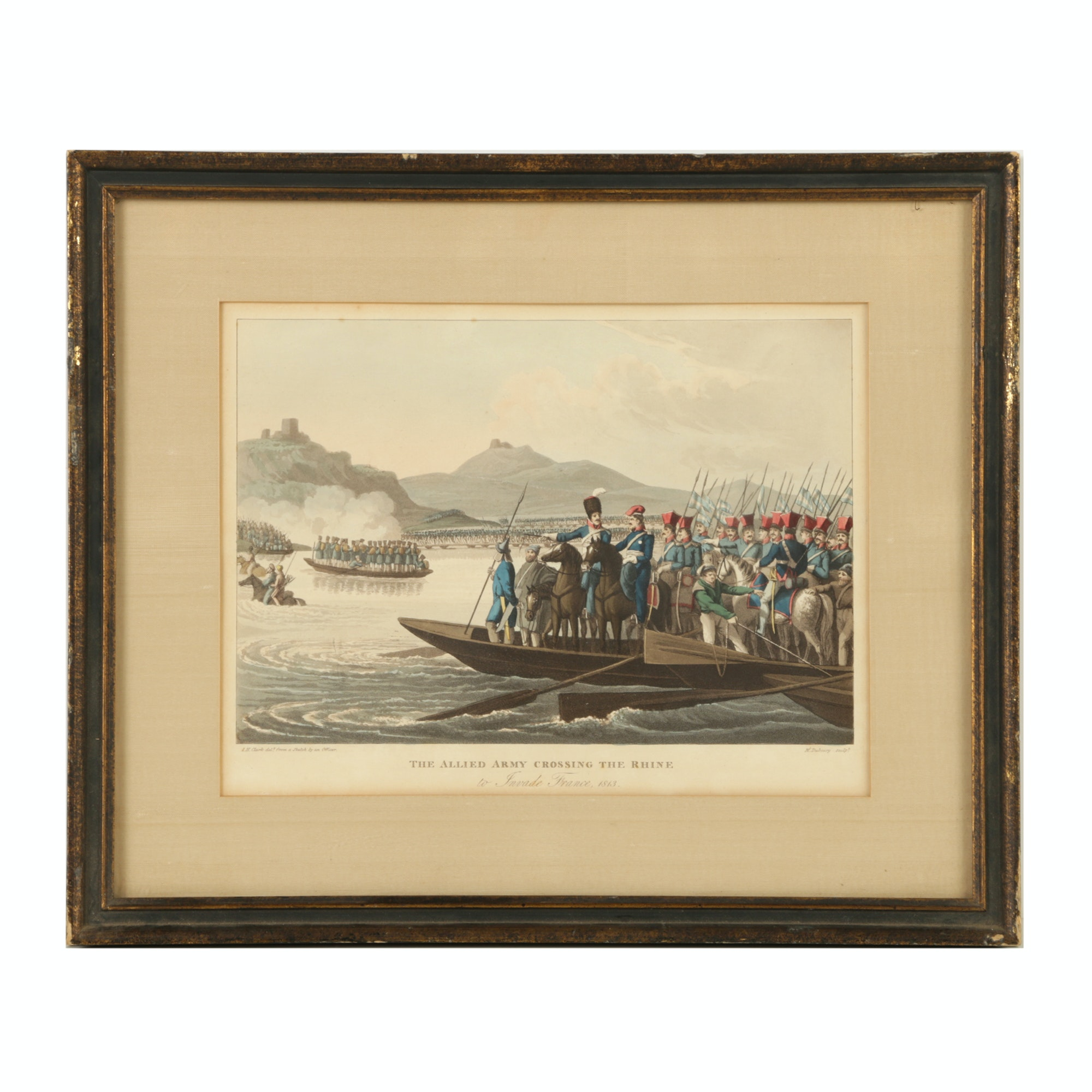 "Lithograph After Clark and Dubourg ""The Allied Army Crossing the Rhine"""