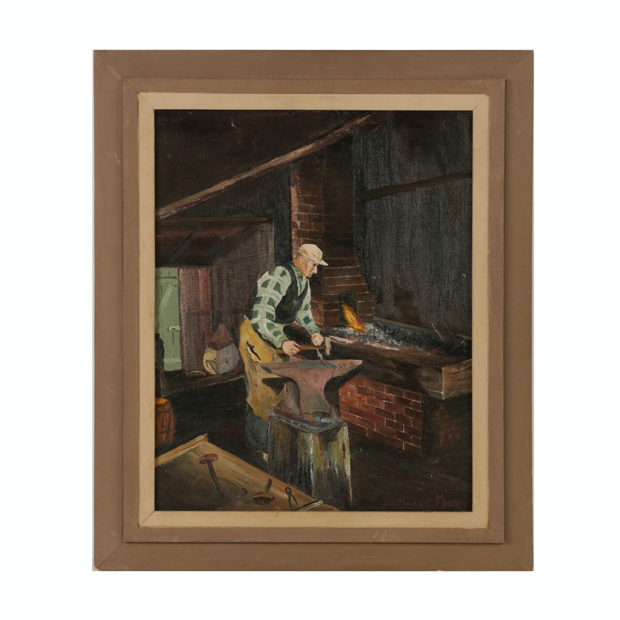 "Robert Mason Mid-Century Oil Painting ""Blacksmith"""