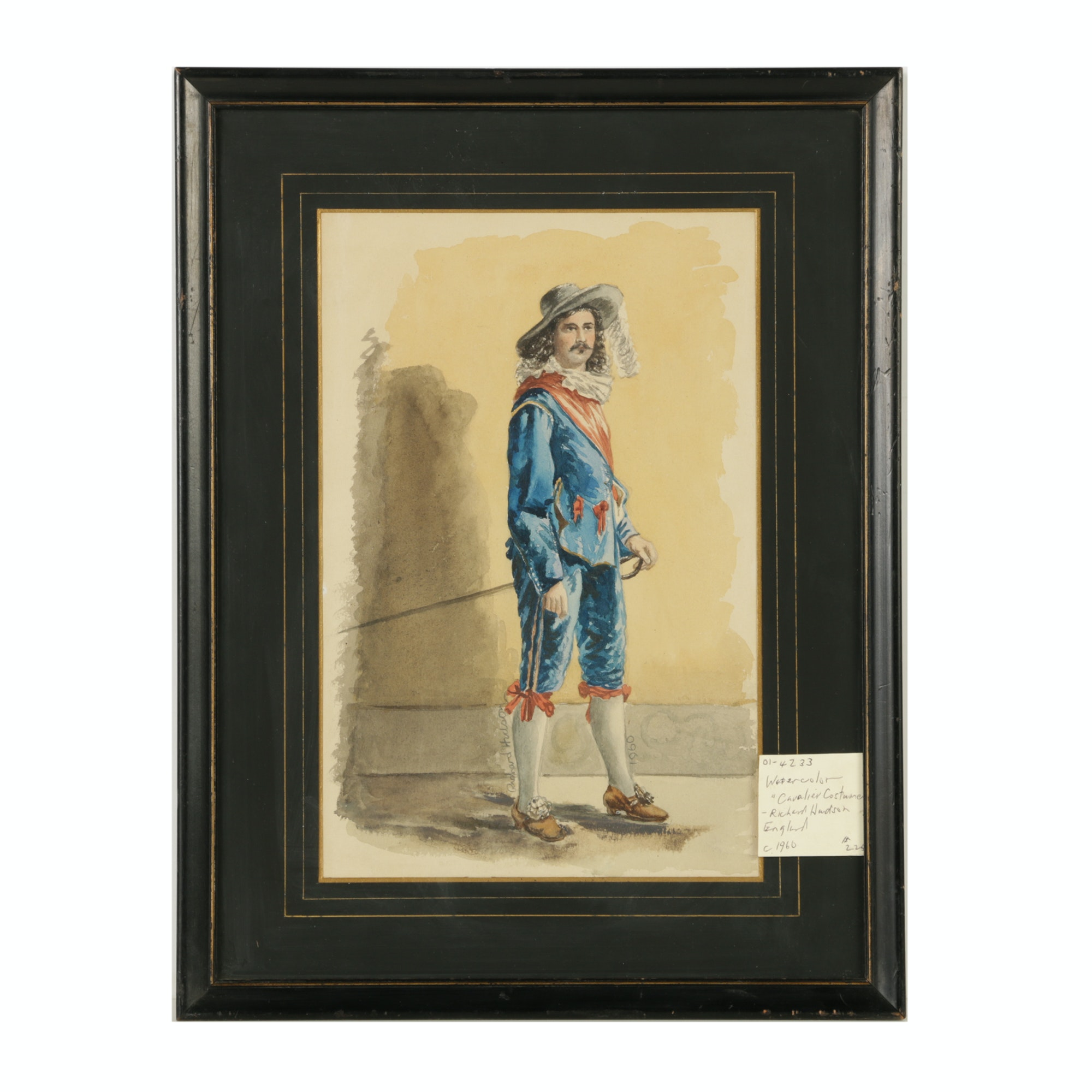 "Richard Hudson 1960 Watercolor Painting ""Cavalier Costume"""