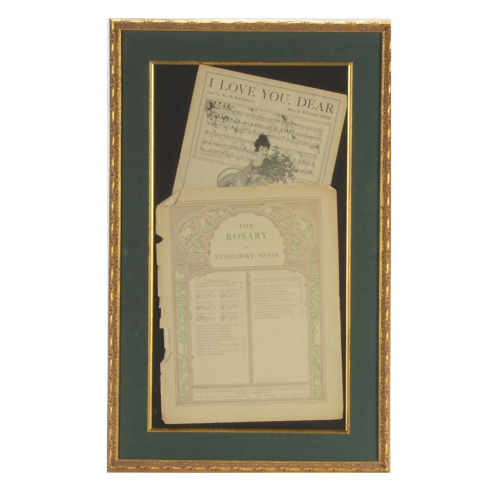 Framed  Wall-hanging of Antique Sheet Music