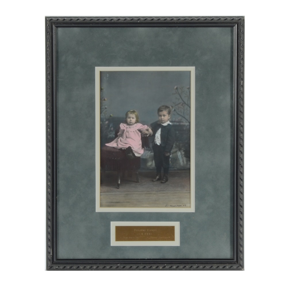 """E.C. Thompson Hand-colored Photograph """"Holding Hands"""""""